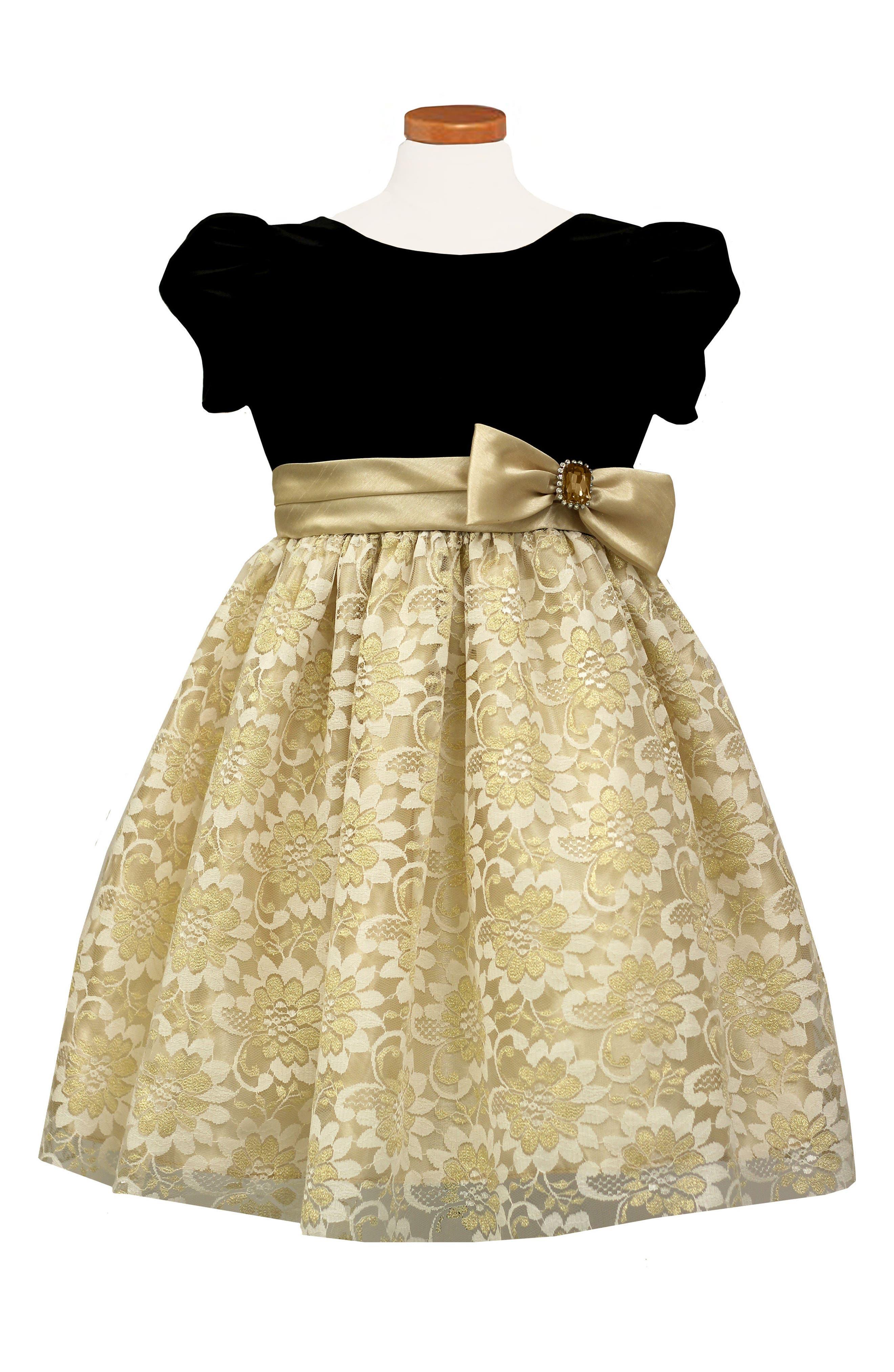 Alternate Image 1 Selected - Sorbet Velvet & Lace Dress (Toddler Girls & Little Girls)