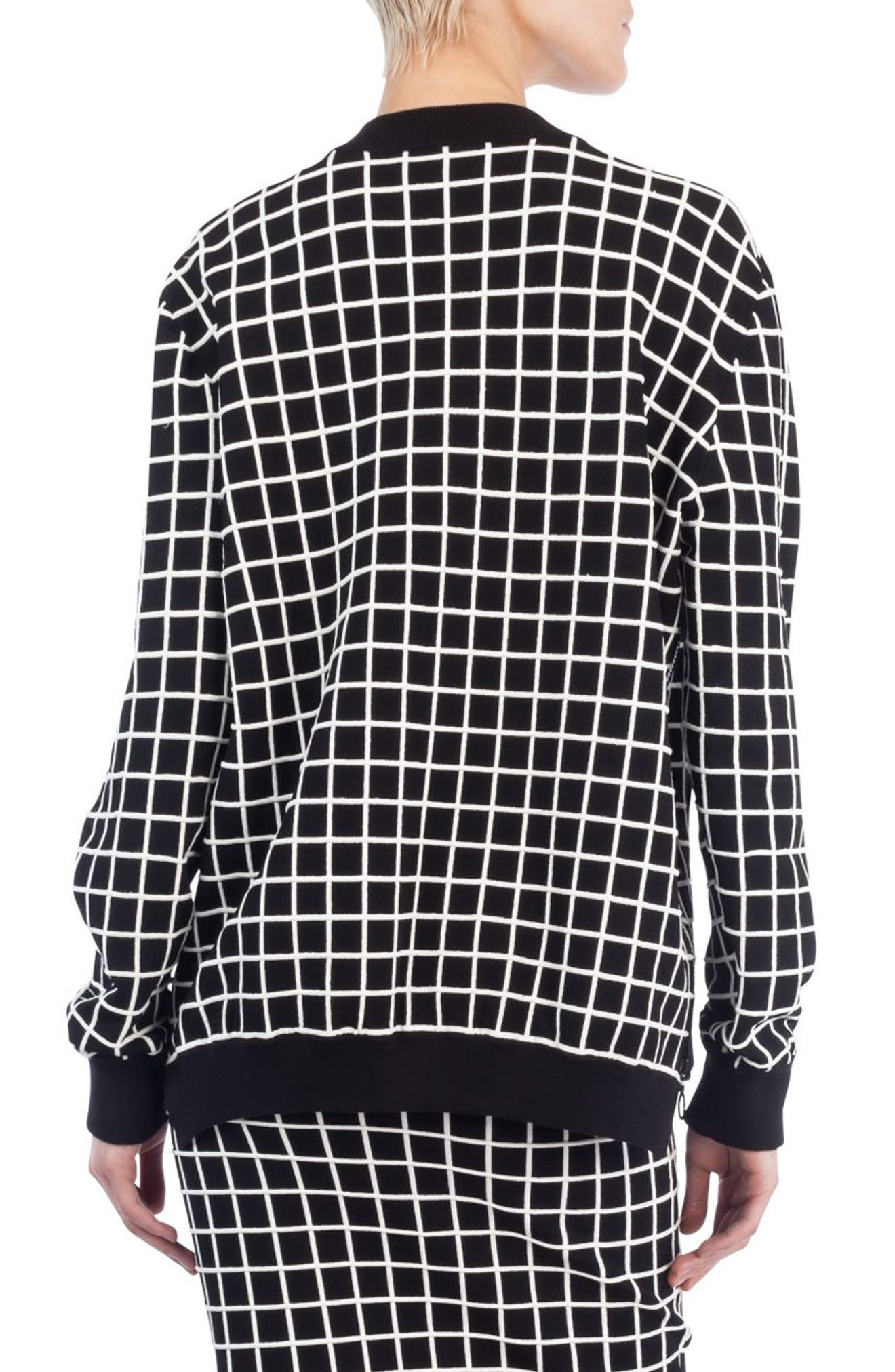 Grid Knit Bomber Jacket,                             Alternate thumbnail 2, color,                             Black/ Cream
