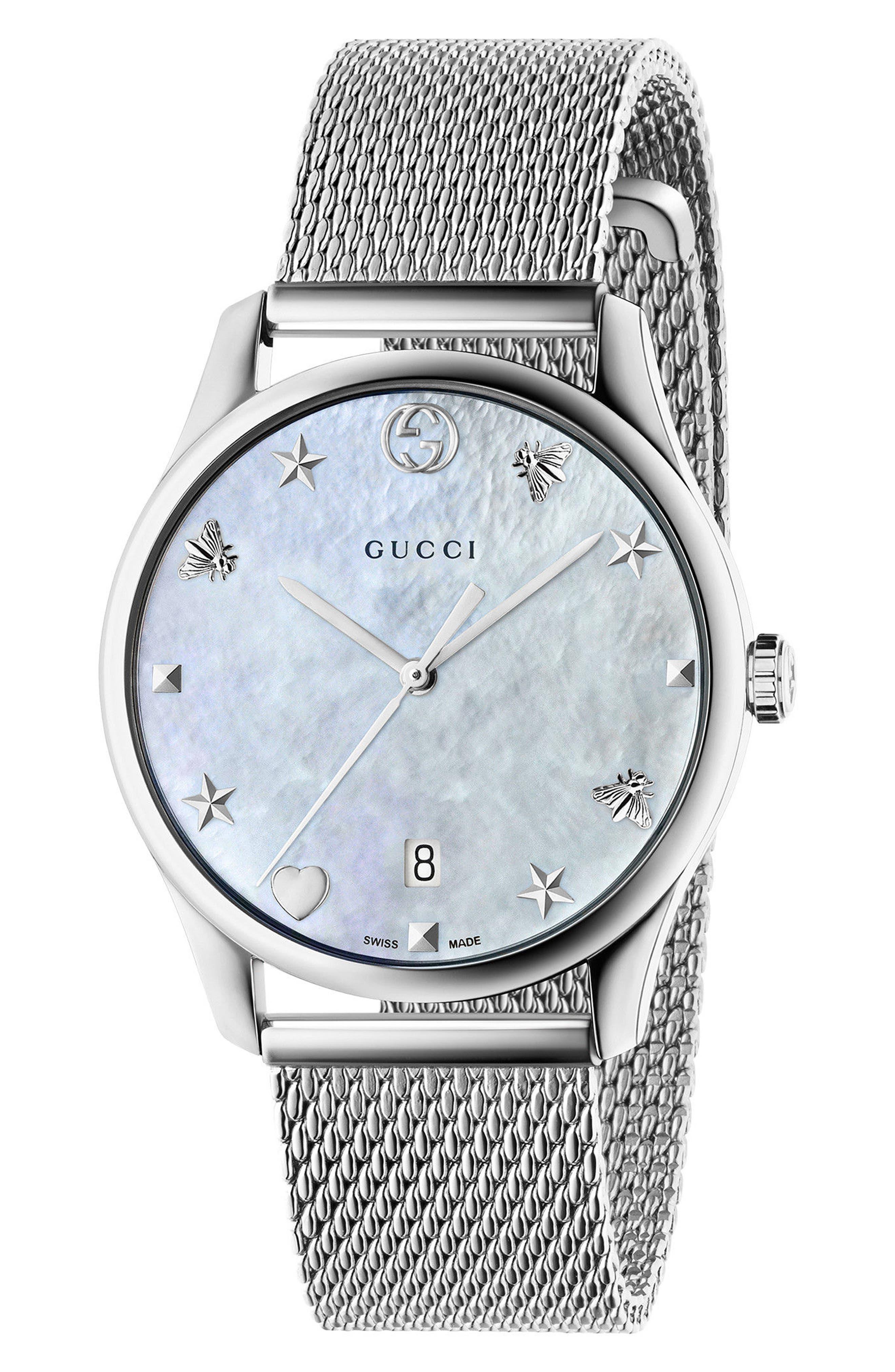 G-Timeless Mesh Bracelet Watch, 36mm,                         Main,                         color, Silver/ Mop/ Silver