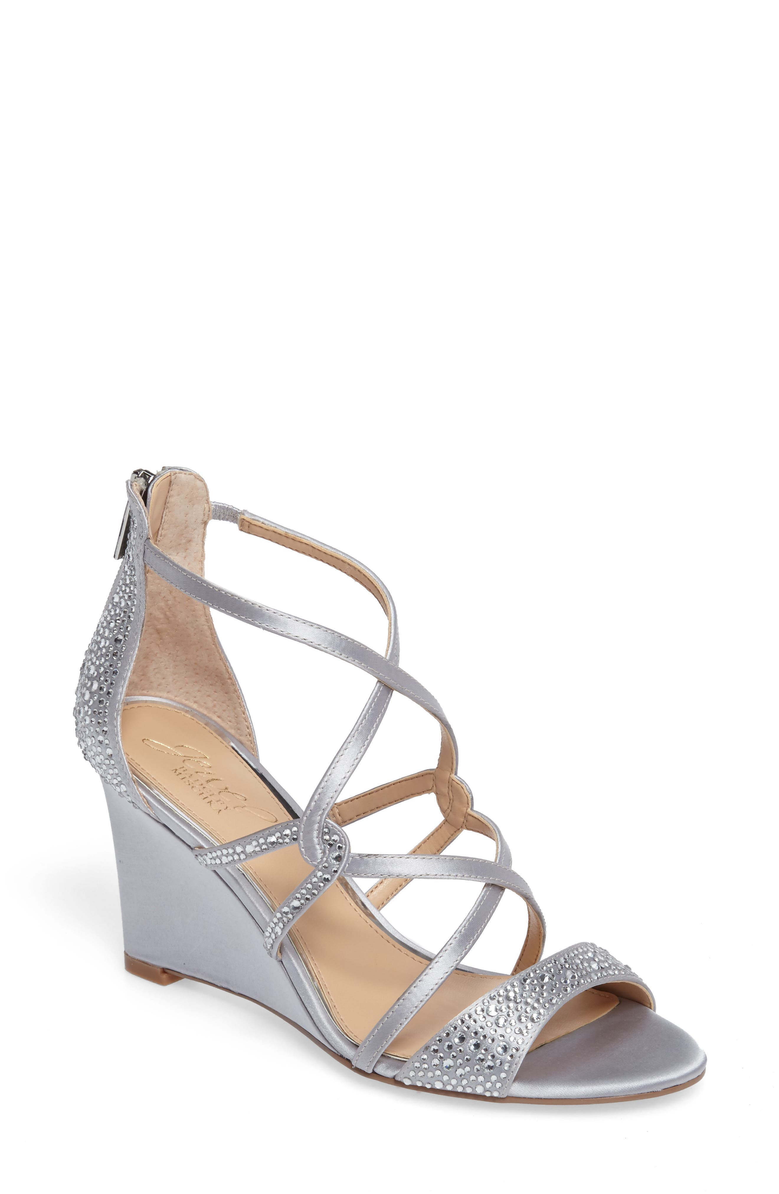 Ally II Embellished Wedge Sandal,                             Main thumbnail 1, color,                             Silver Satin