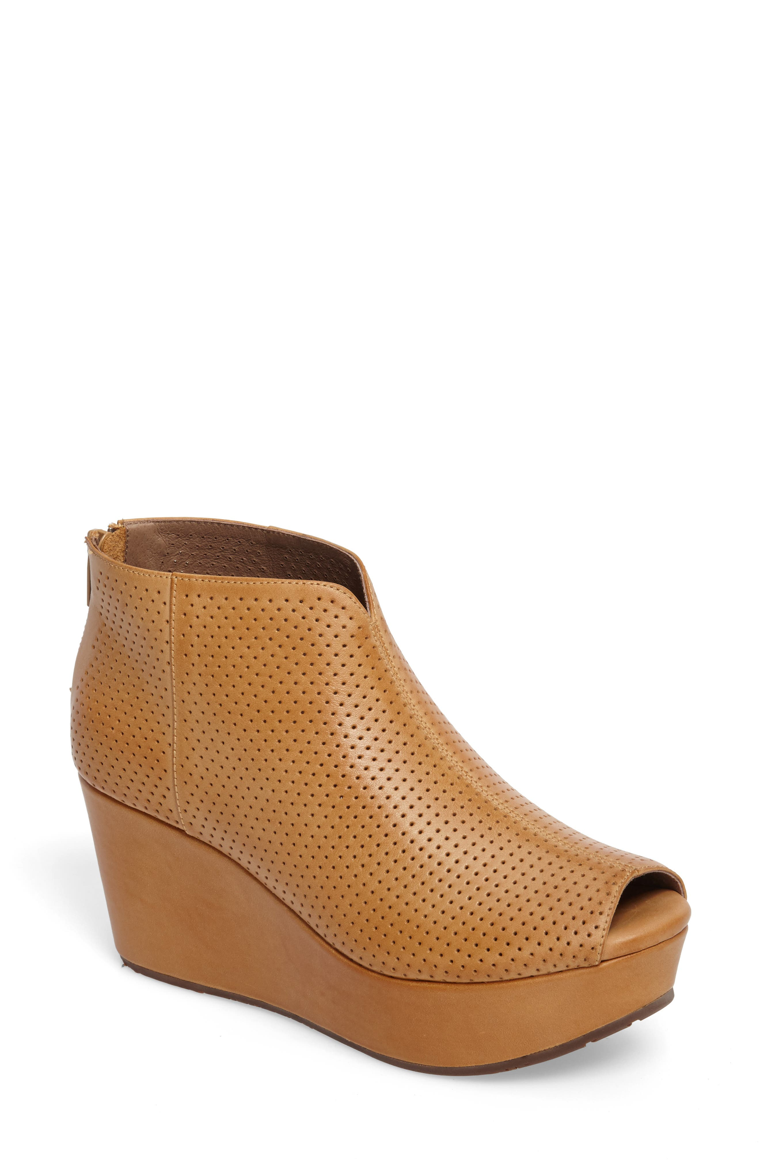 Walee Peep Toe Platform Bootie,                             Main thumbnail 1, color,                             Desert Leather