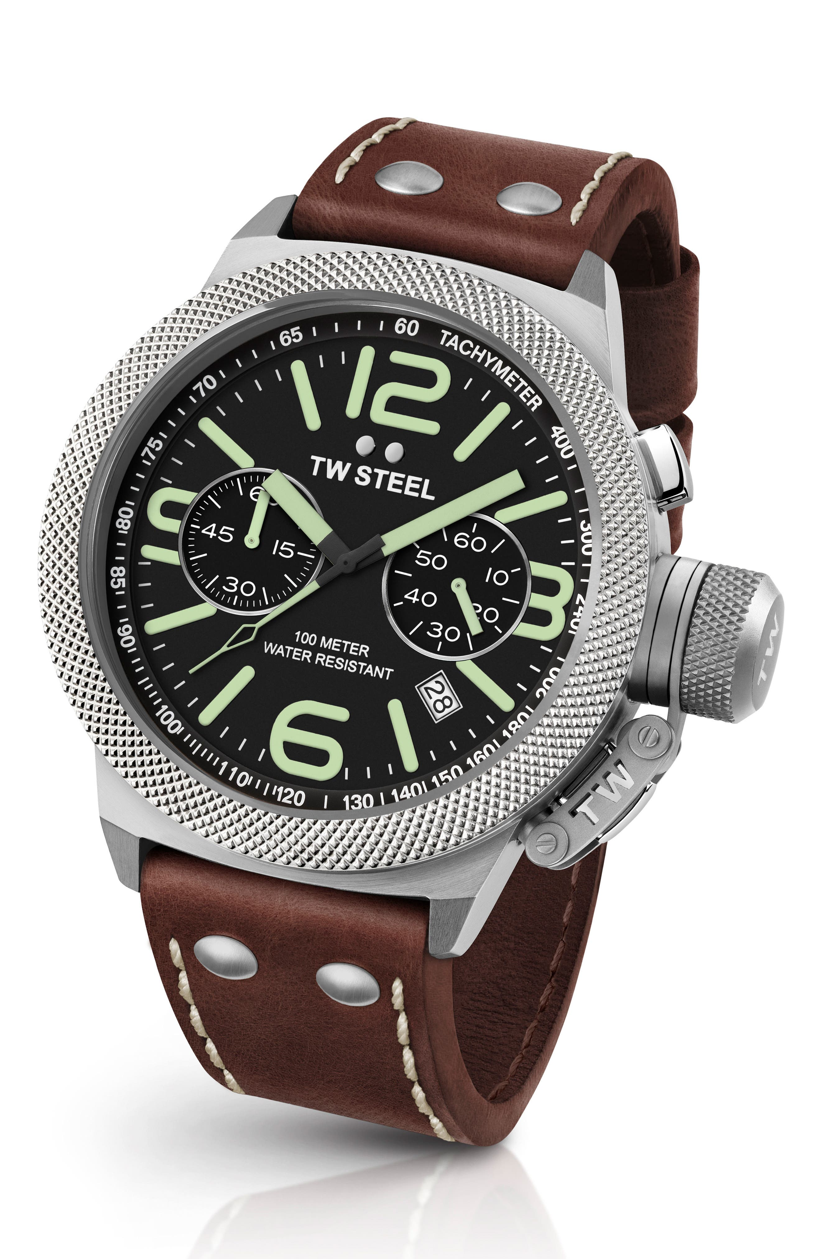 Canteen Chronograph Leather Strap Watch, 50mm,                         Main,                         color, Brown/ Black/ Silver