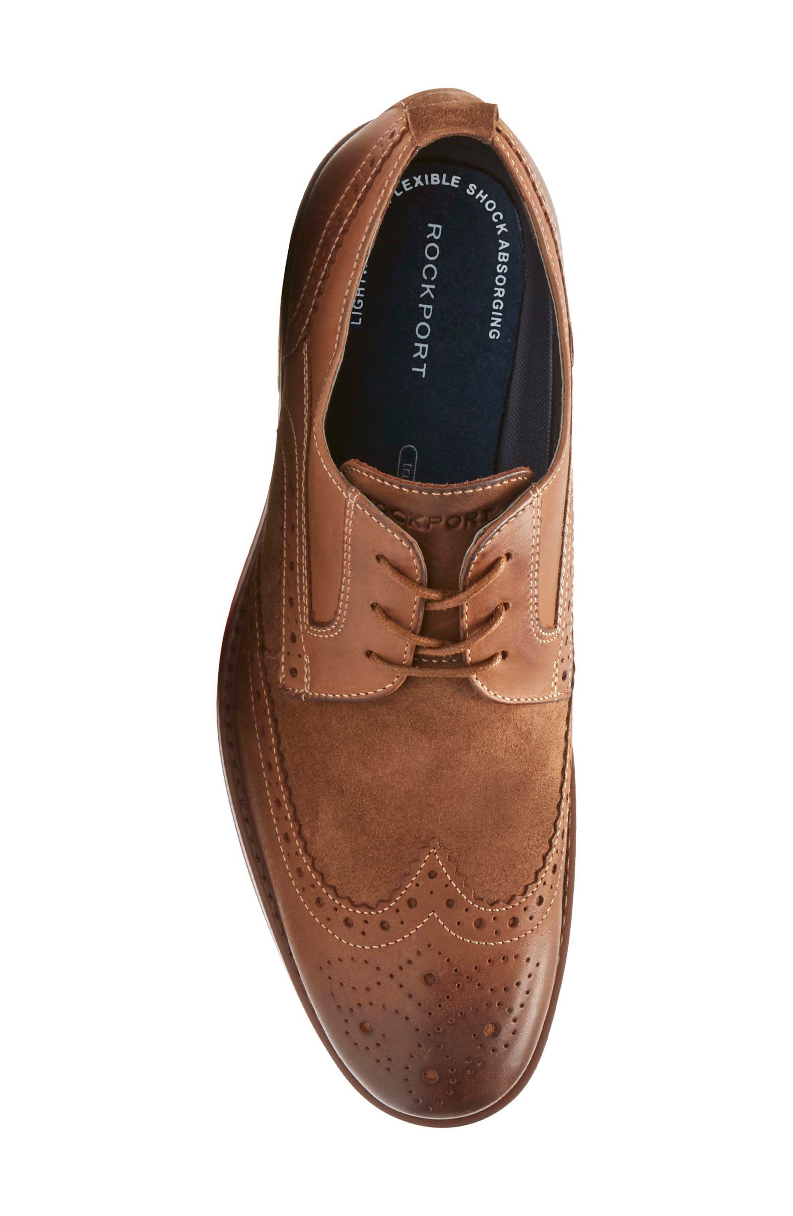 Wynstin Wingtip,                             Alternate thumbnail 5, color,                             Tobacco Leather/ Suede