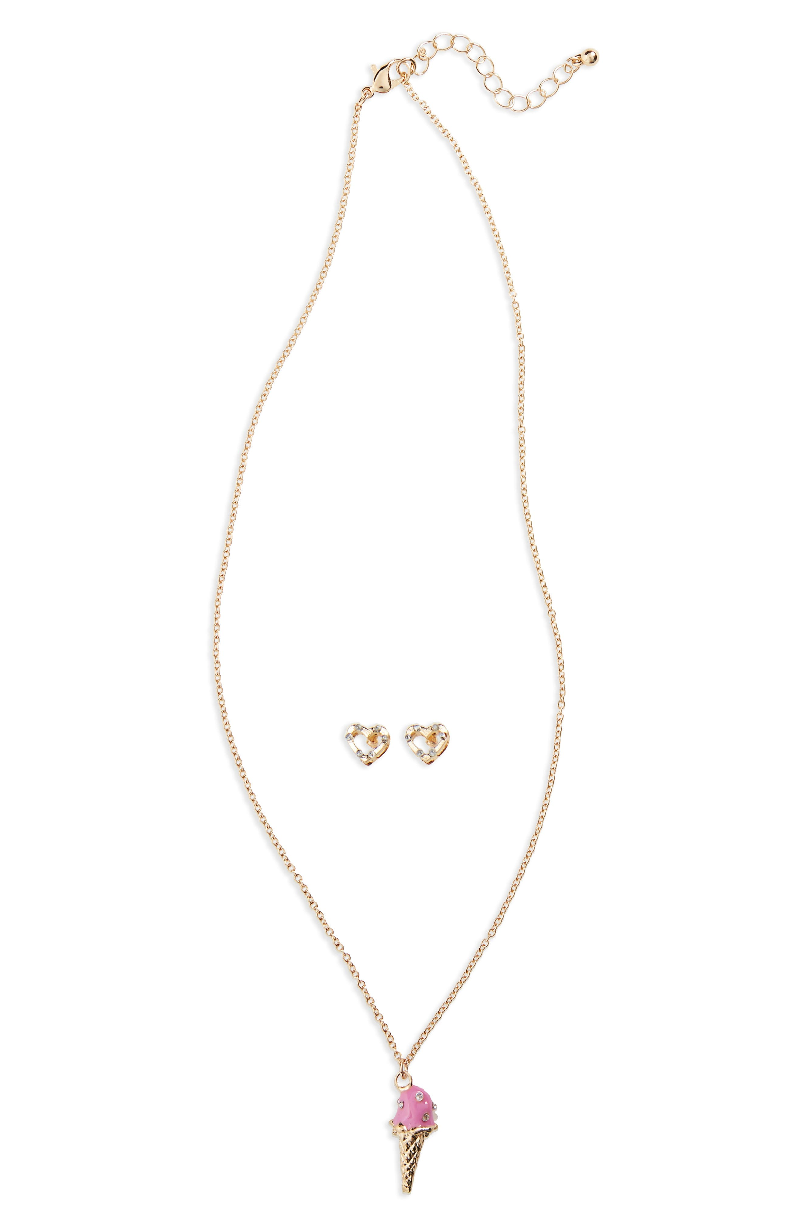 Alternate Image 1 Selected - Capelli New York Ice Cream Necklace & Heart Earrings Set (Big Girls)