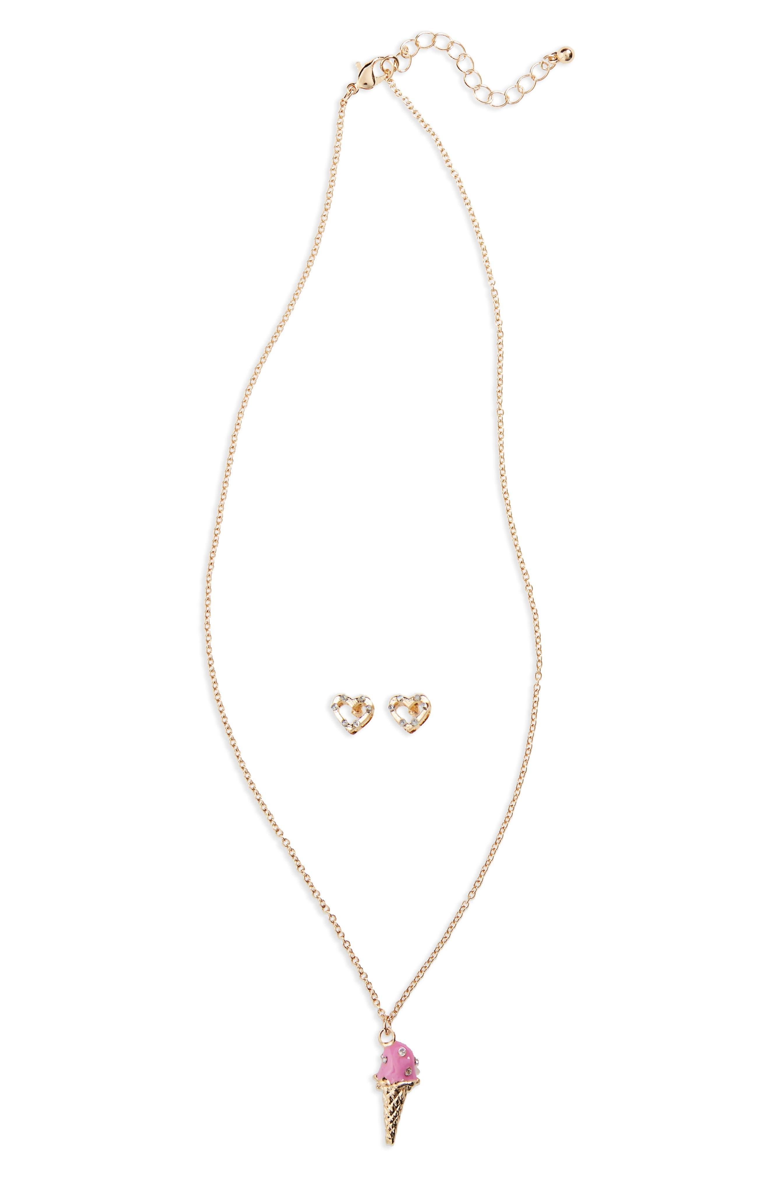Main Image - Capelli New York Ice Cream Necklace & Heart Earrings Set (Big Girls)