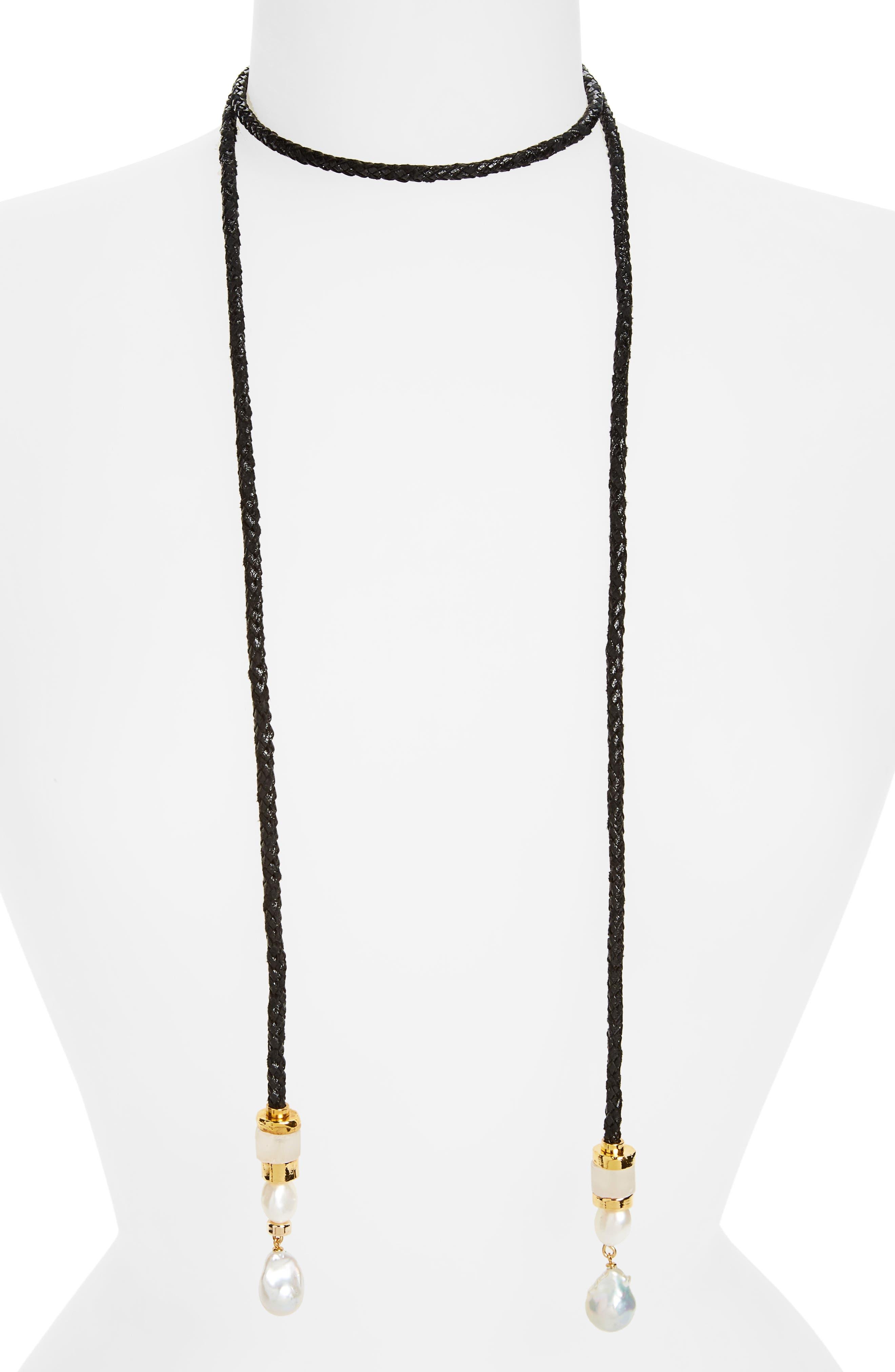 Safari Pearl Lariat Necklace,                             Main thumbnail 1, color,                             Black