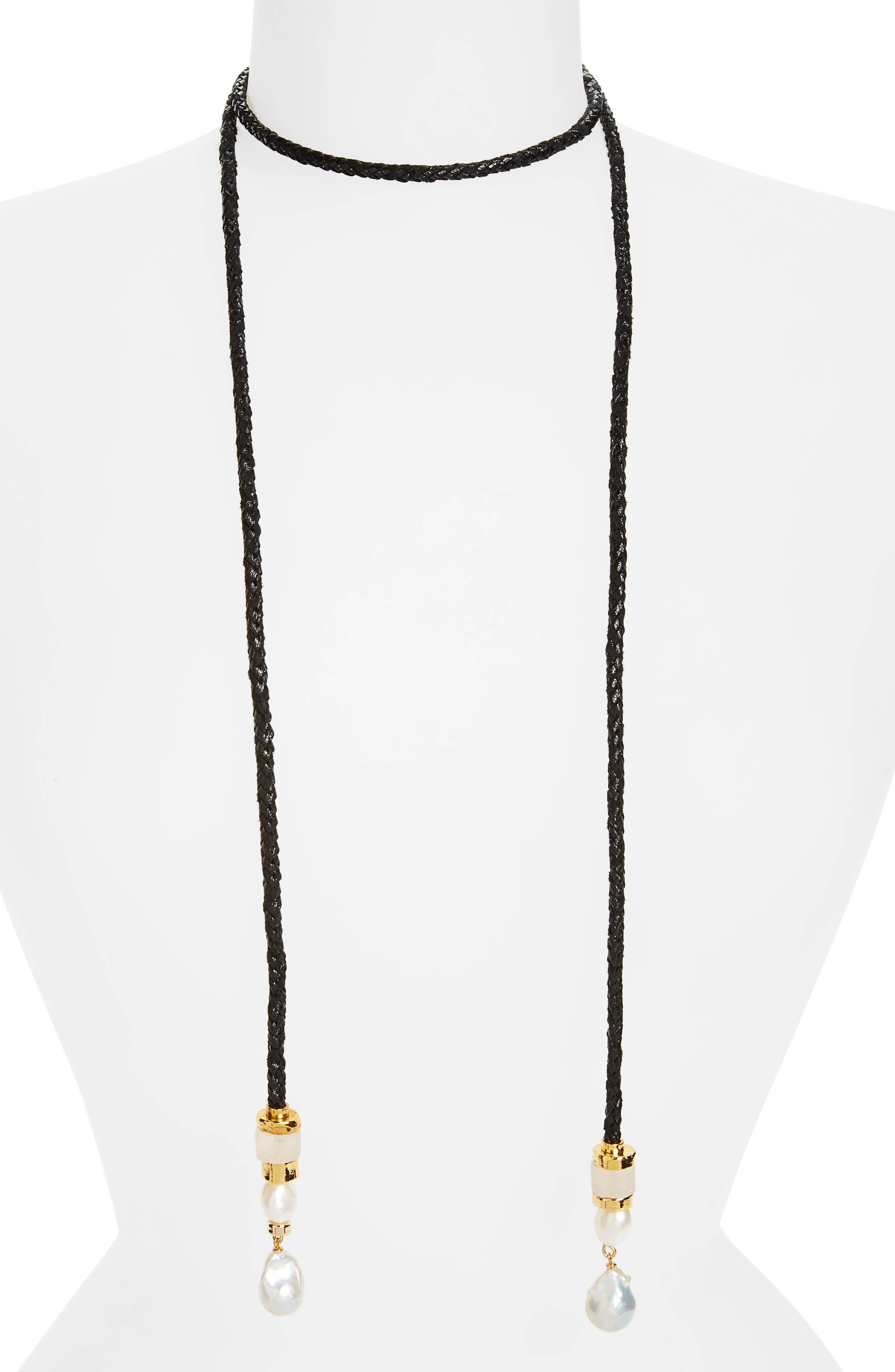 Safari Pearl Lariat Necklace,                         Main,                         color, Black