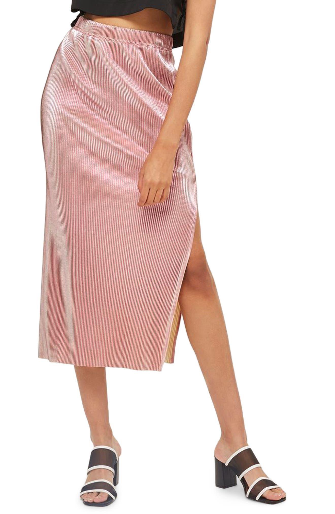 Topshop Plissé Pleated Midi Skirt
