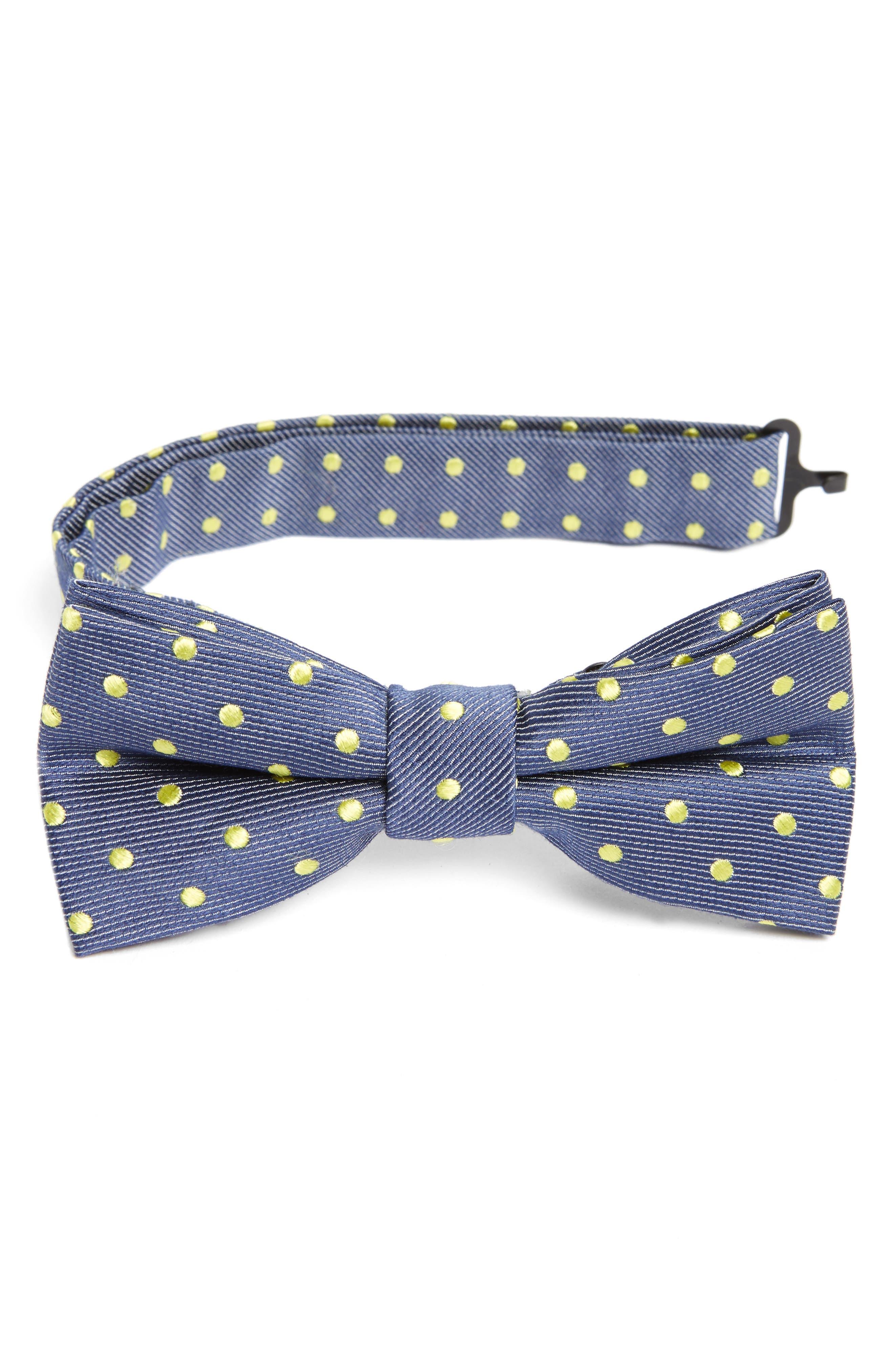 Dot Cotton & Silk Bow Tie,                         Main,                         color, Yellow