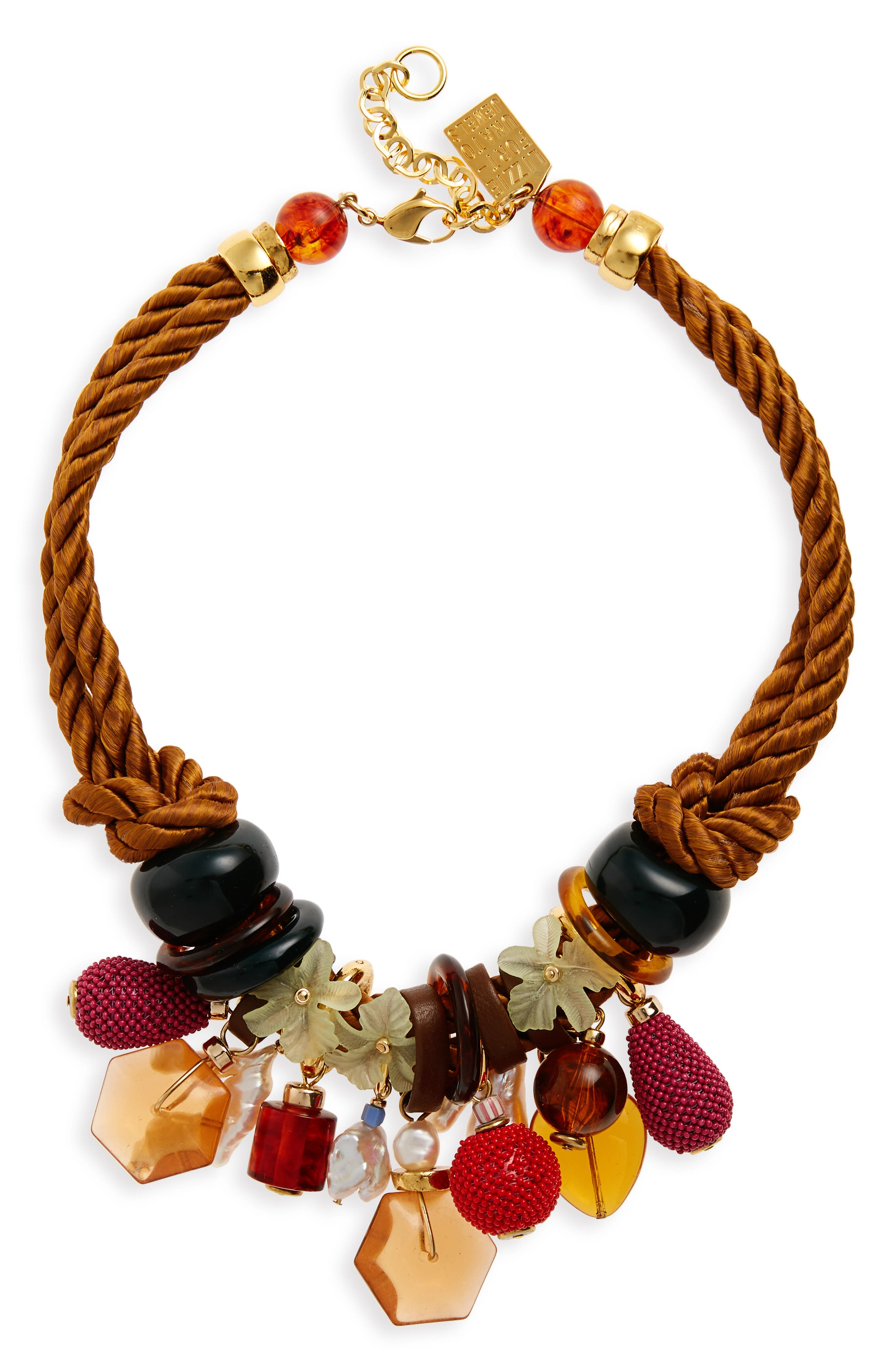 Tropicana Charm Necklace,                         Main,                         color, Tan/ Multi Charms