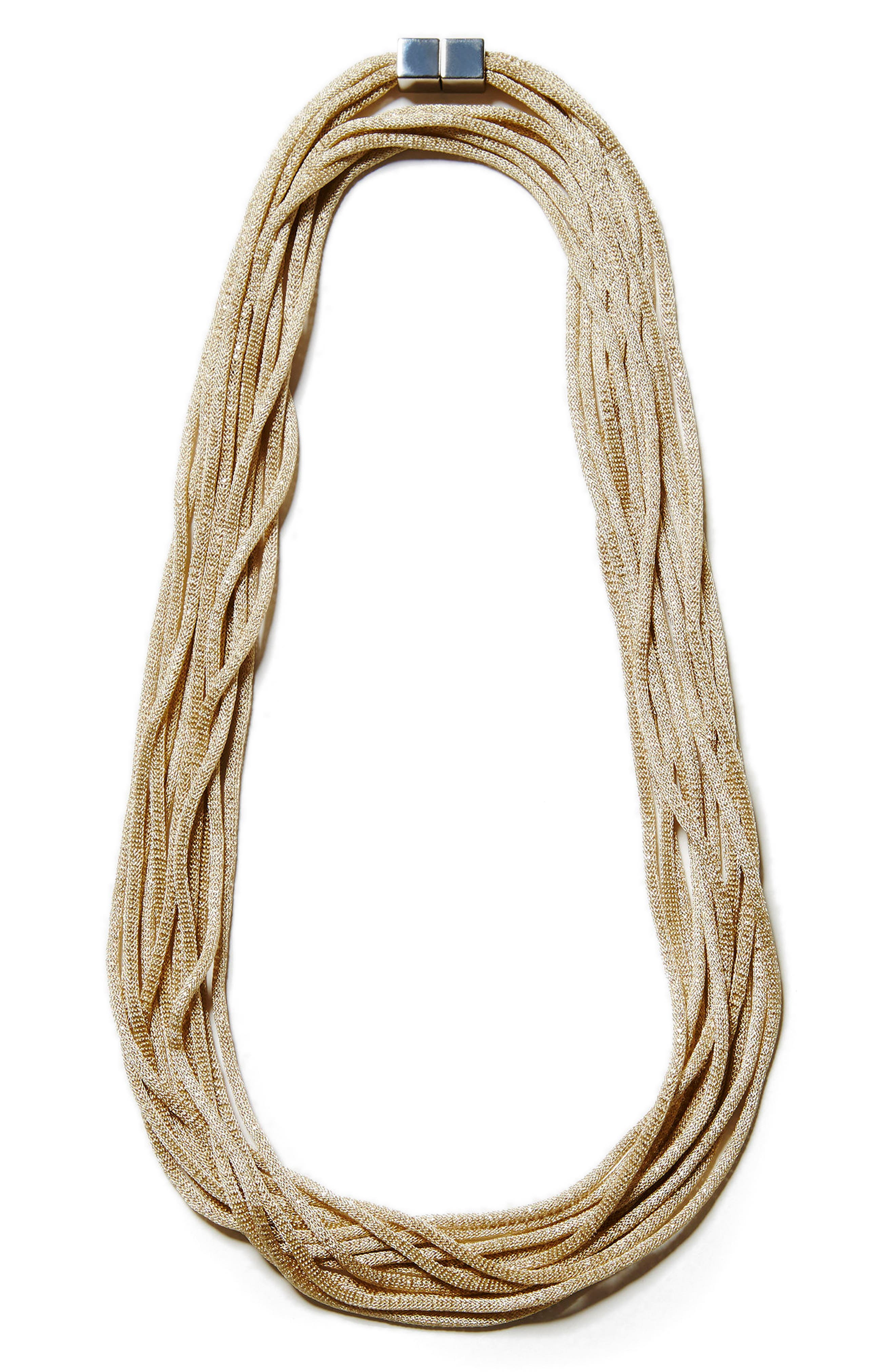 Mesh Chain Multistrand Necklace,                         Main,                         color, Pale Gold
