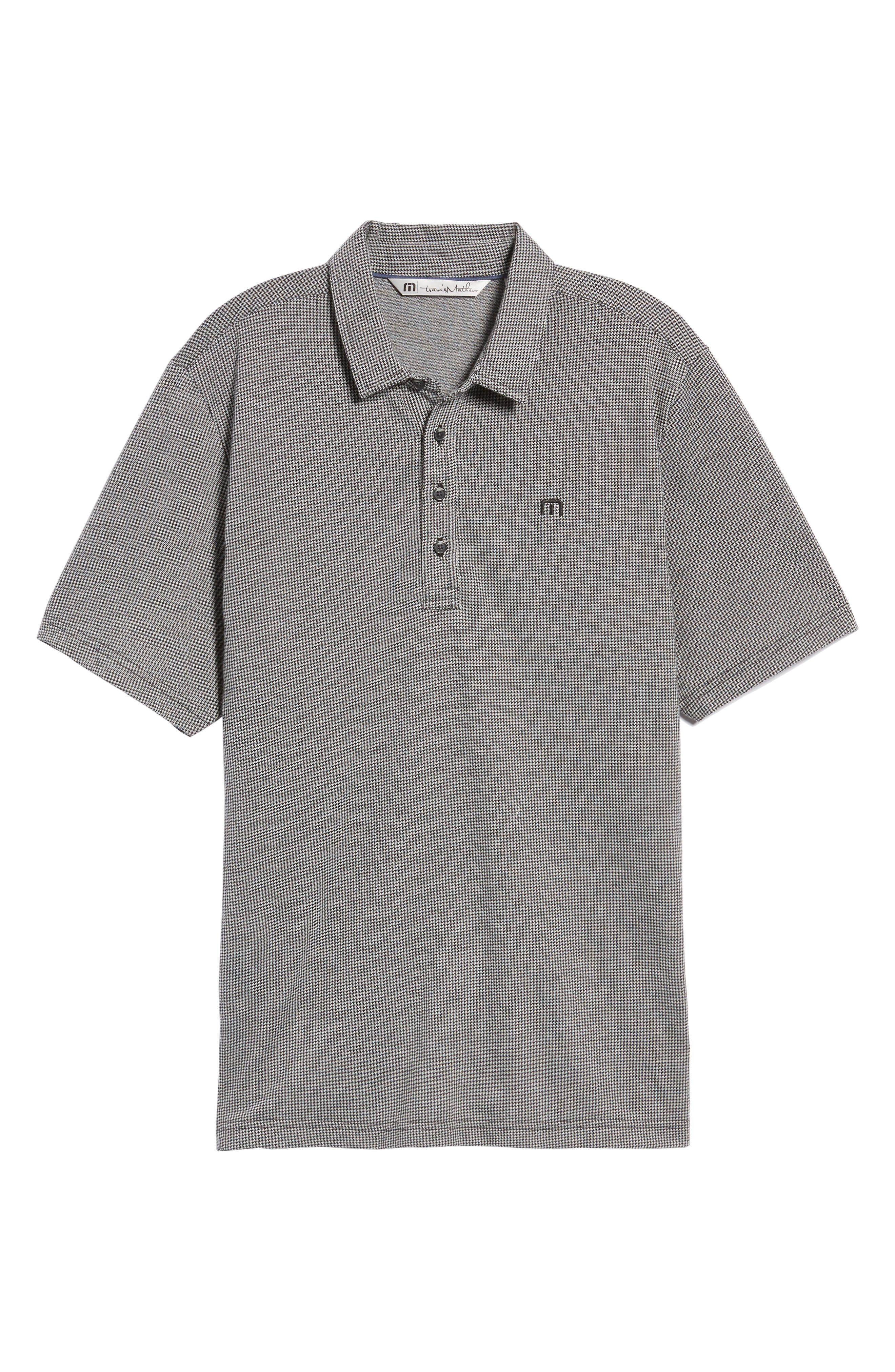 Lawrence Houndstooth Polo,                             Alternate thumbnail 6, color,                             Black/ Microchip