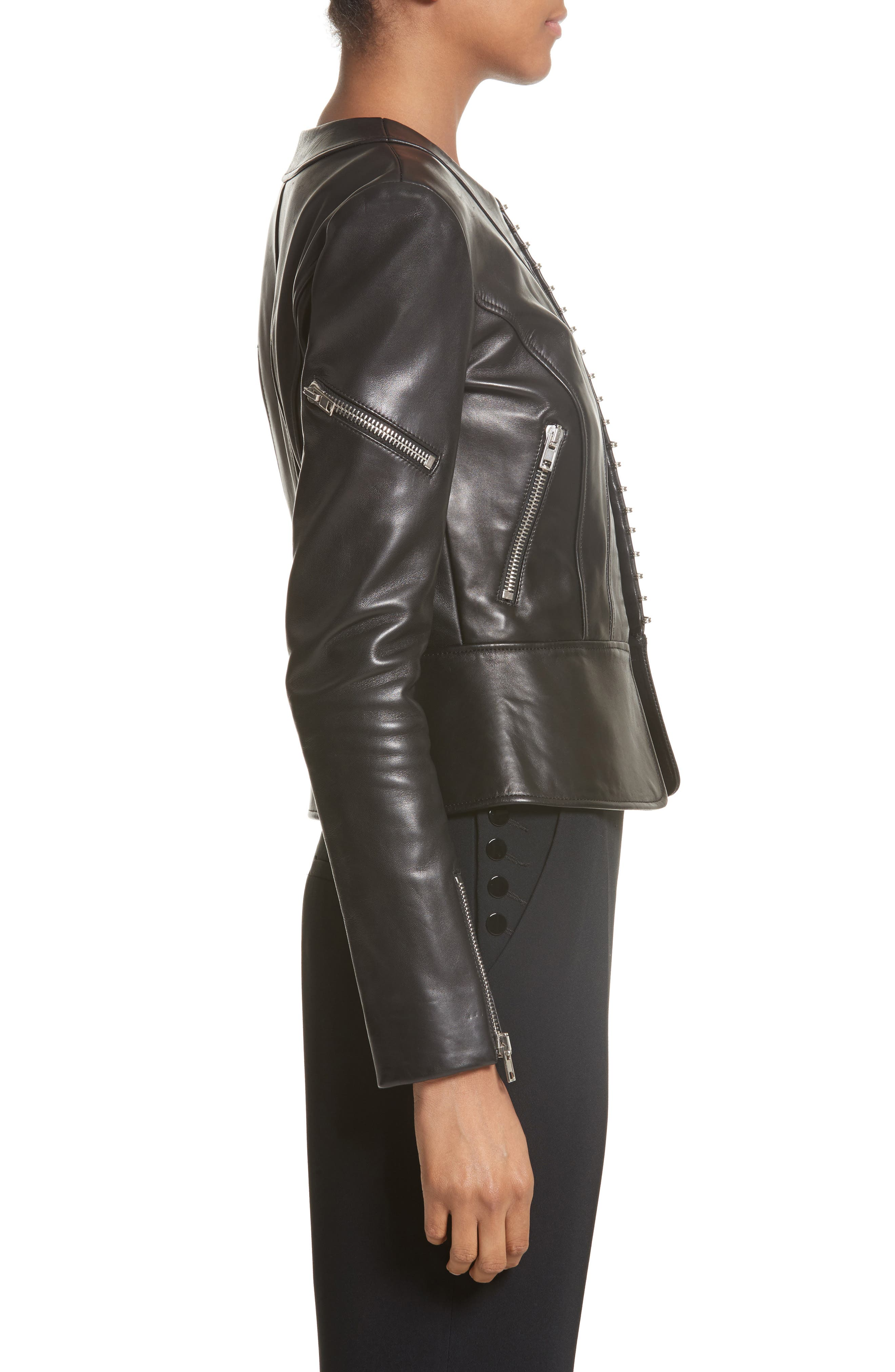 Hook Detail Lambskin Leather Jacket,                             Alternate thumbnail 3, color,                             Black