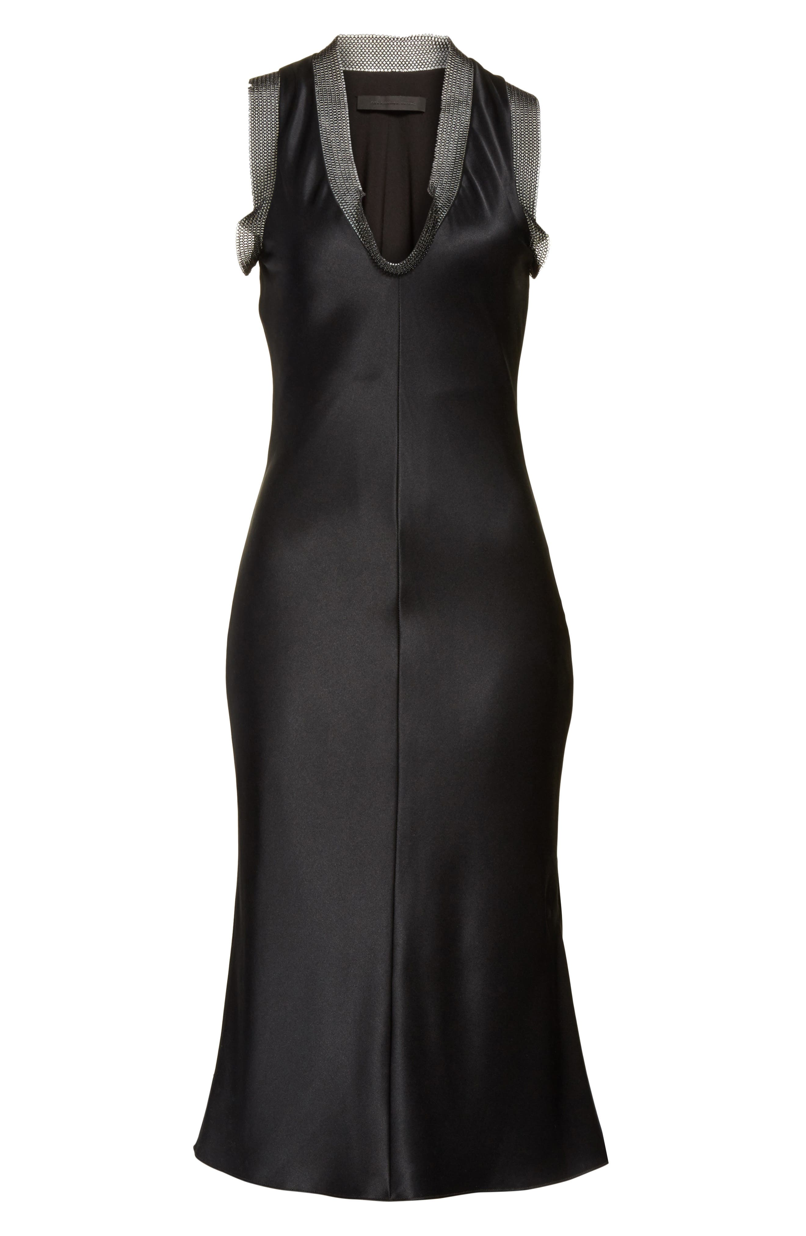 Alternate Image 6  - Alexander Wang Chain Mail Trim Silk Slipdress