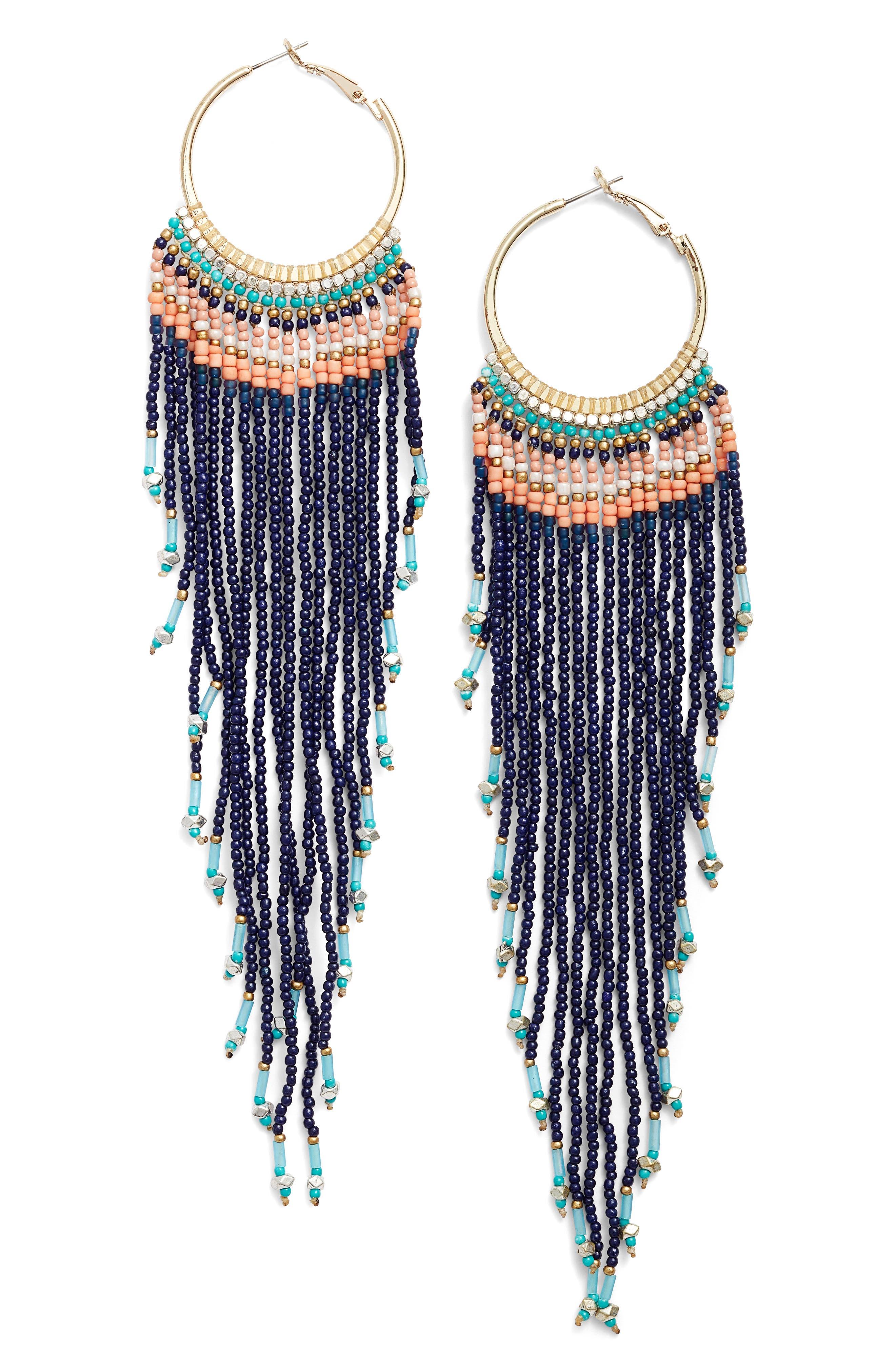 Aban Beaded Tassel Hoop Earrings,                         Main,                         color, Blue