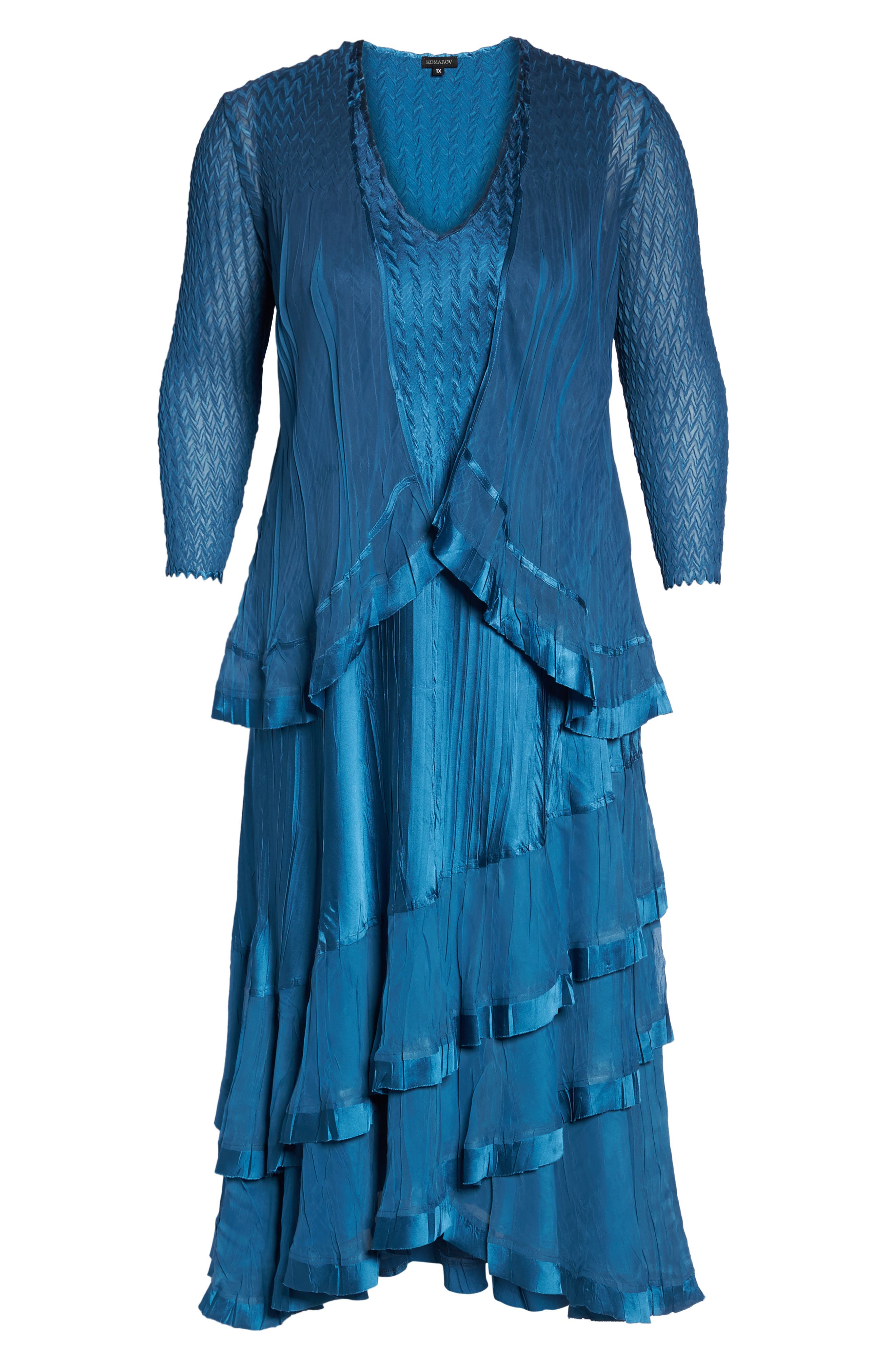 Tiered Dress with Jacket,                             Alternate thumbnail 6, color,                             Blue Dusk