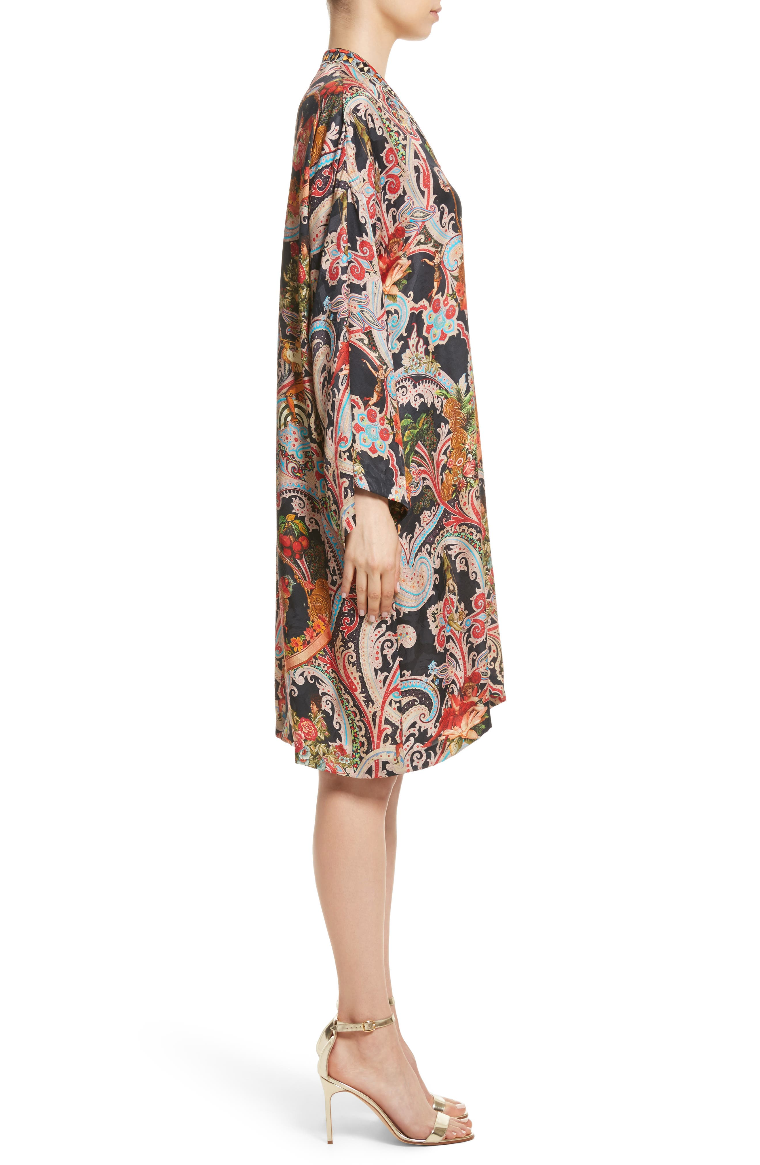 Print Caftan Dress,                             Alternate thumbnail 3, color,                             Black