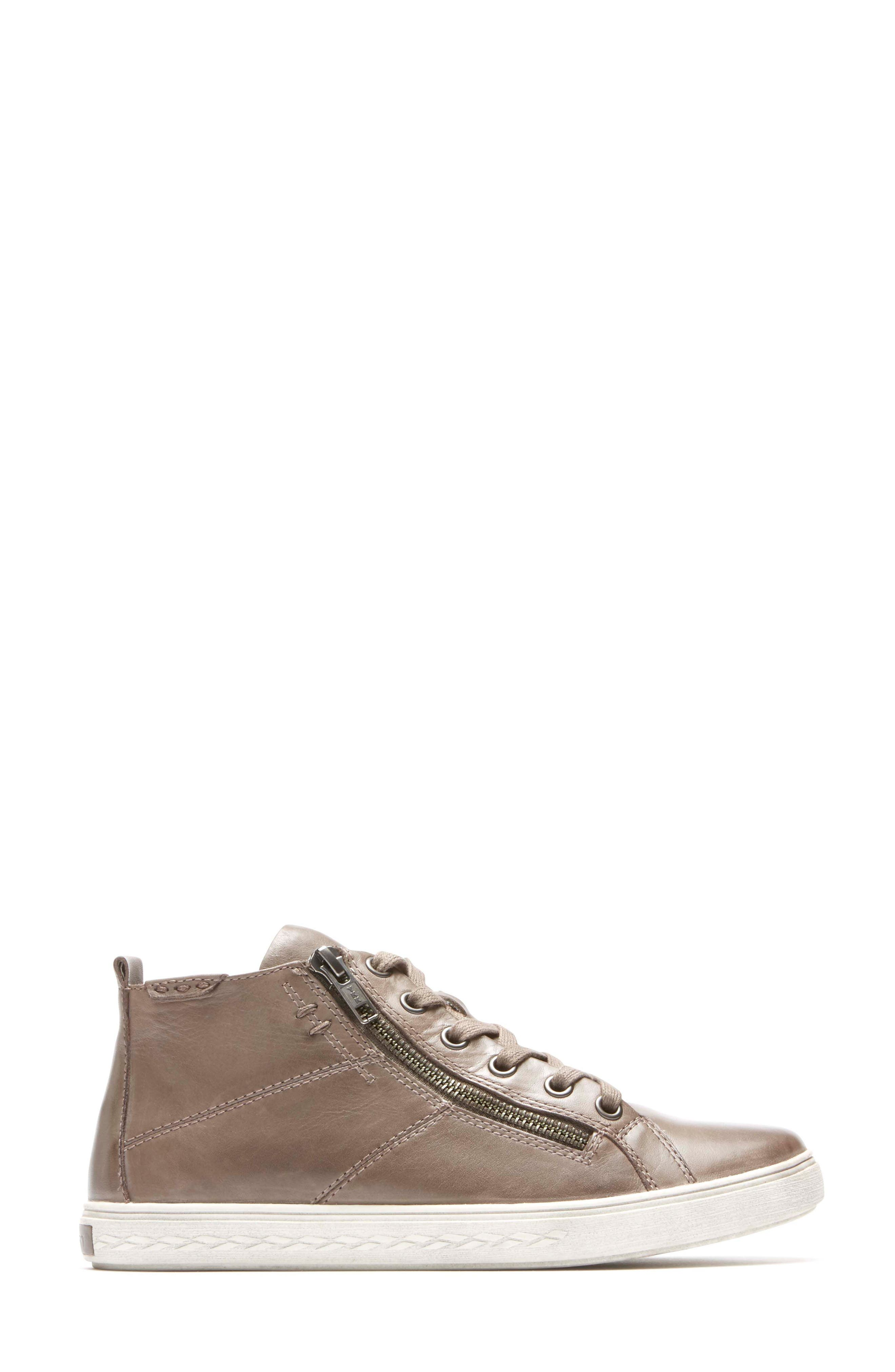 Willa High Top Sneaker,                             Alternate thumbnail 3, color,                             Grey Leather