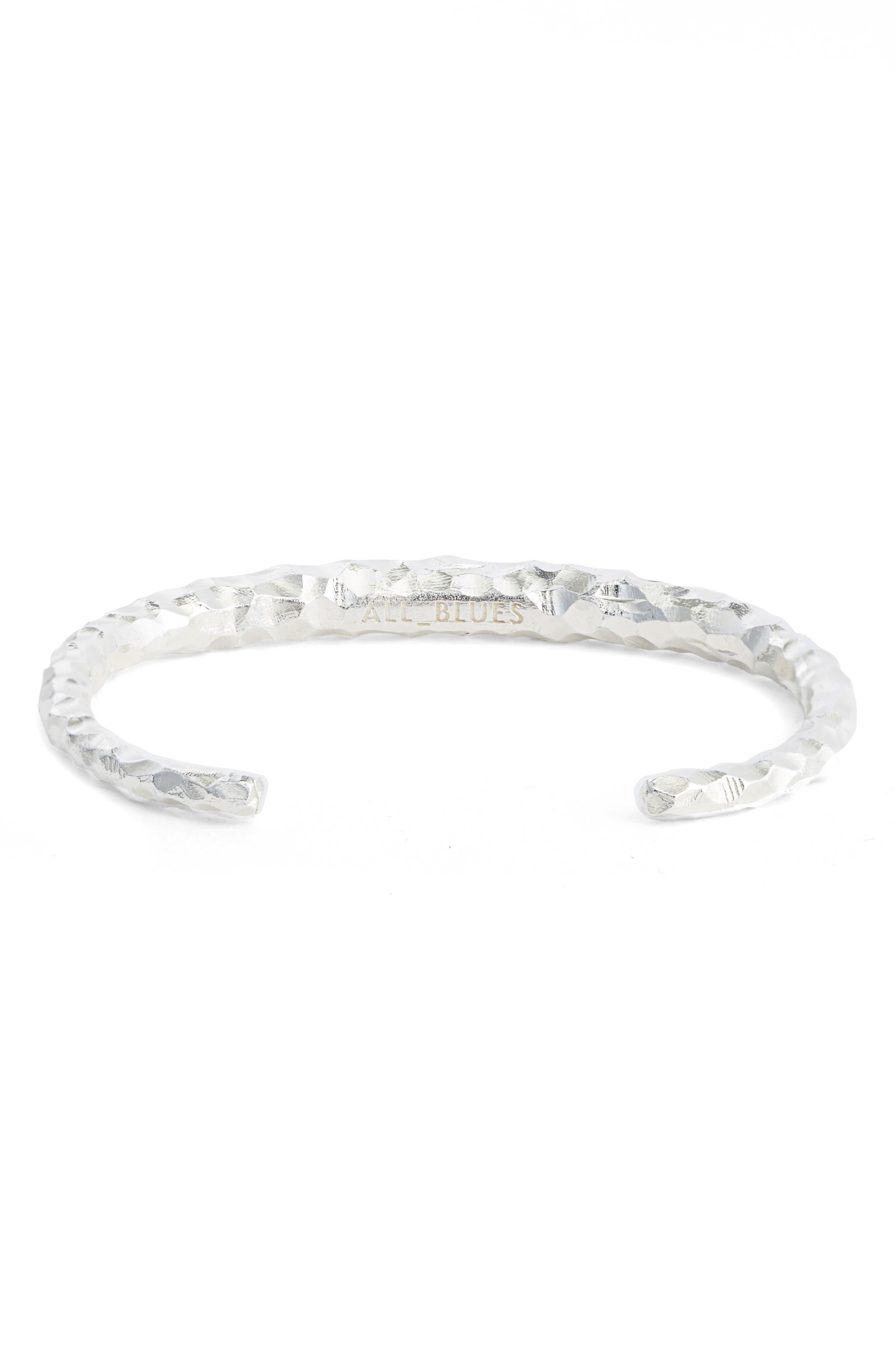 All Blues Large Snake Carved Silver Bracelet