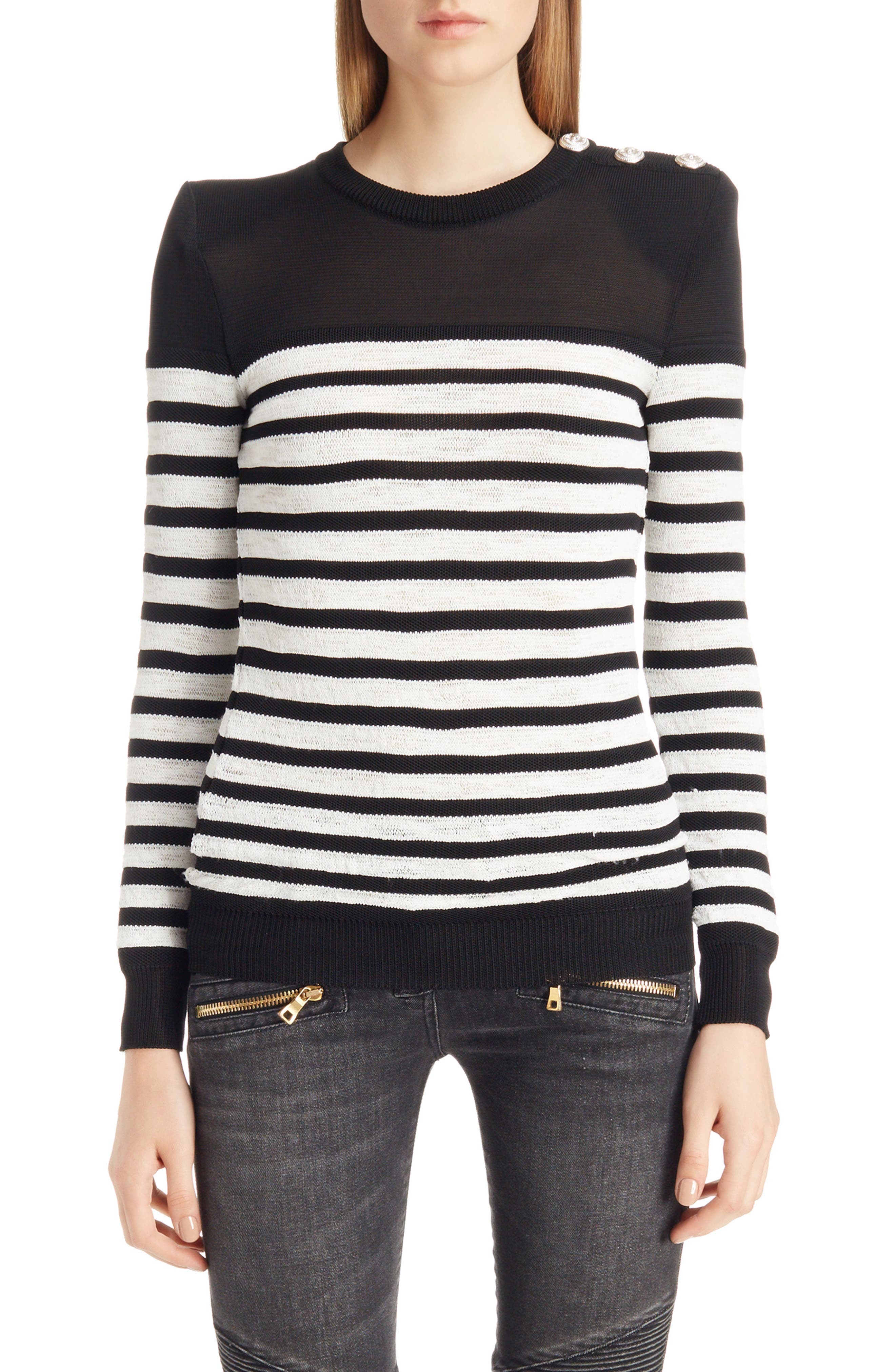 Marine Stripe Knit Sweater,                             Main thumbnail 1, color,                             Black And White