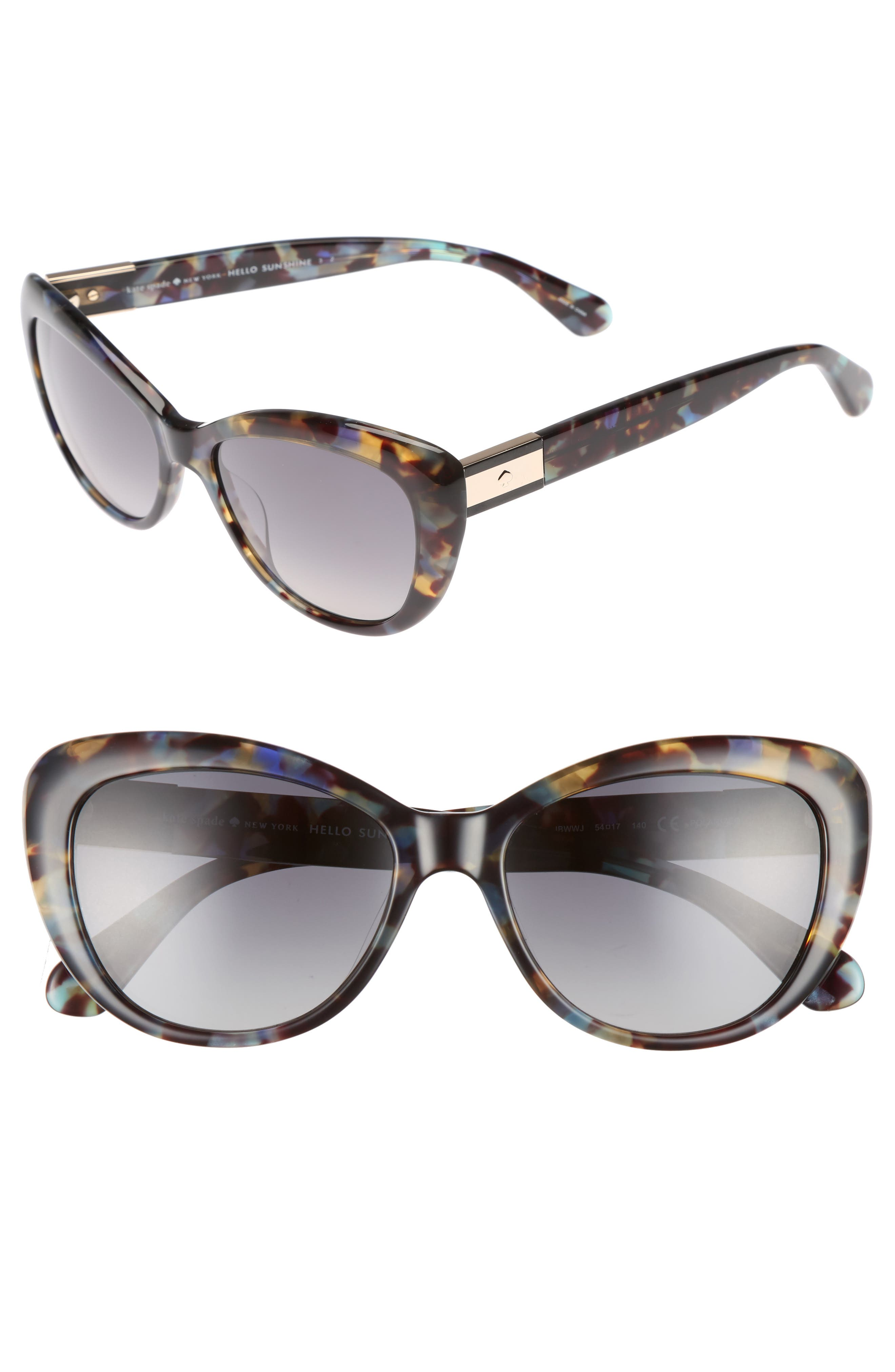 emmalyn 54mm polarized cat eye sunglasses,                         Main,                         color, Blue Havana