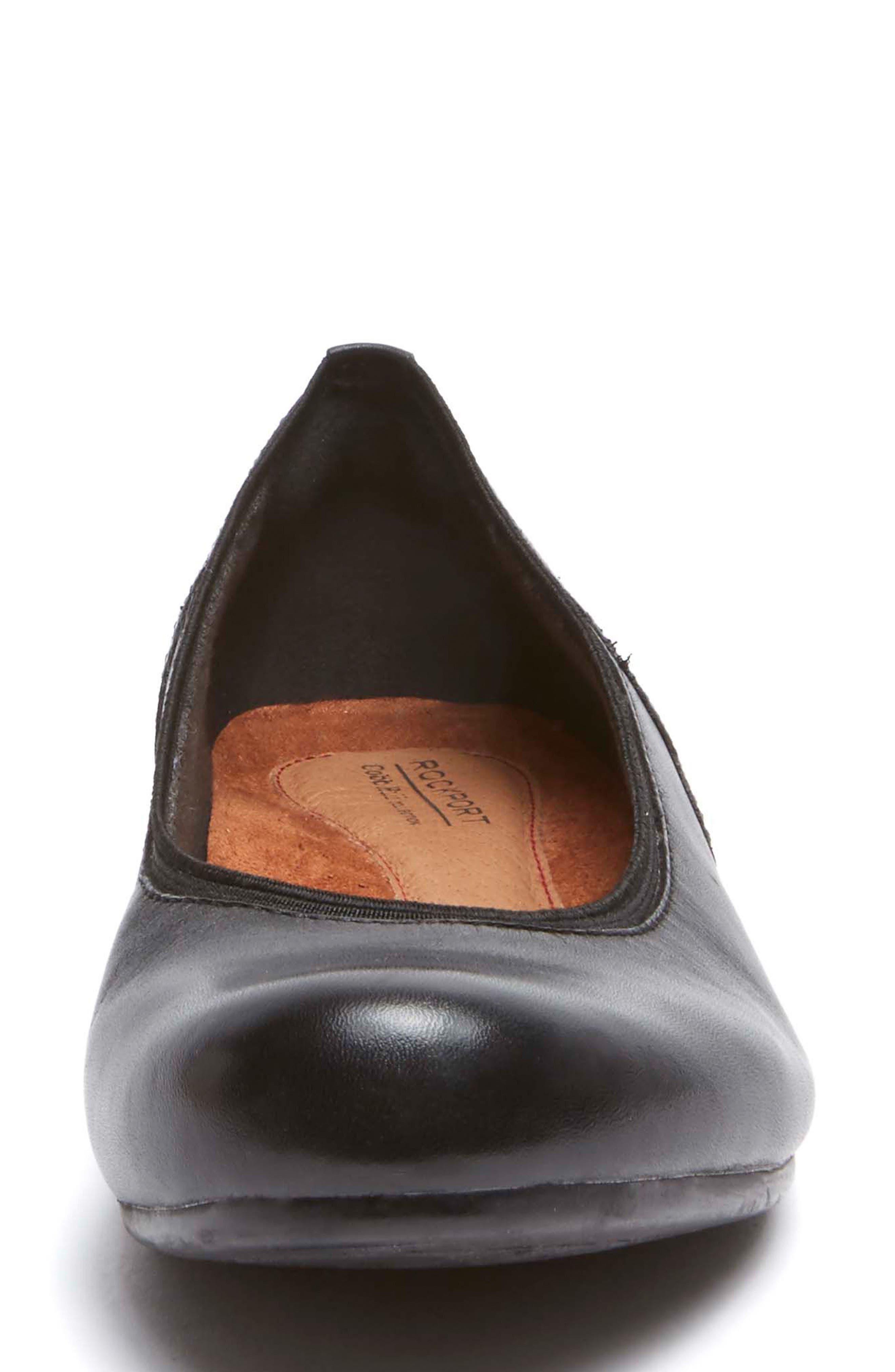 Sharleen Wedge Pump,                             Alternate thumbnail 4, color,                             Black Leather