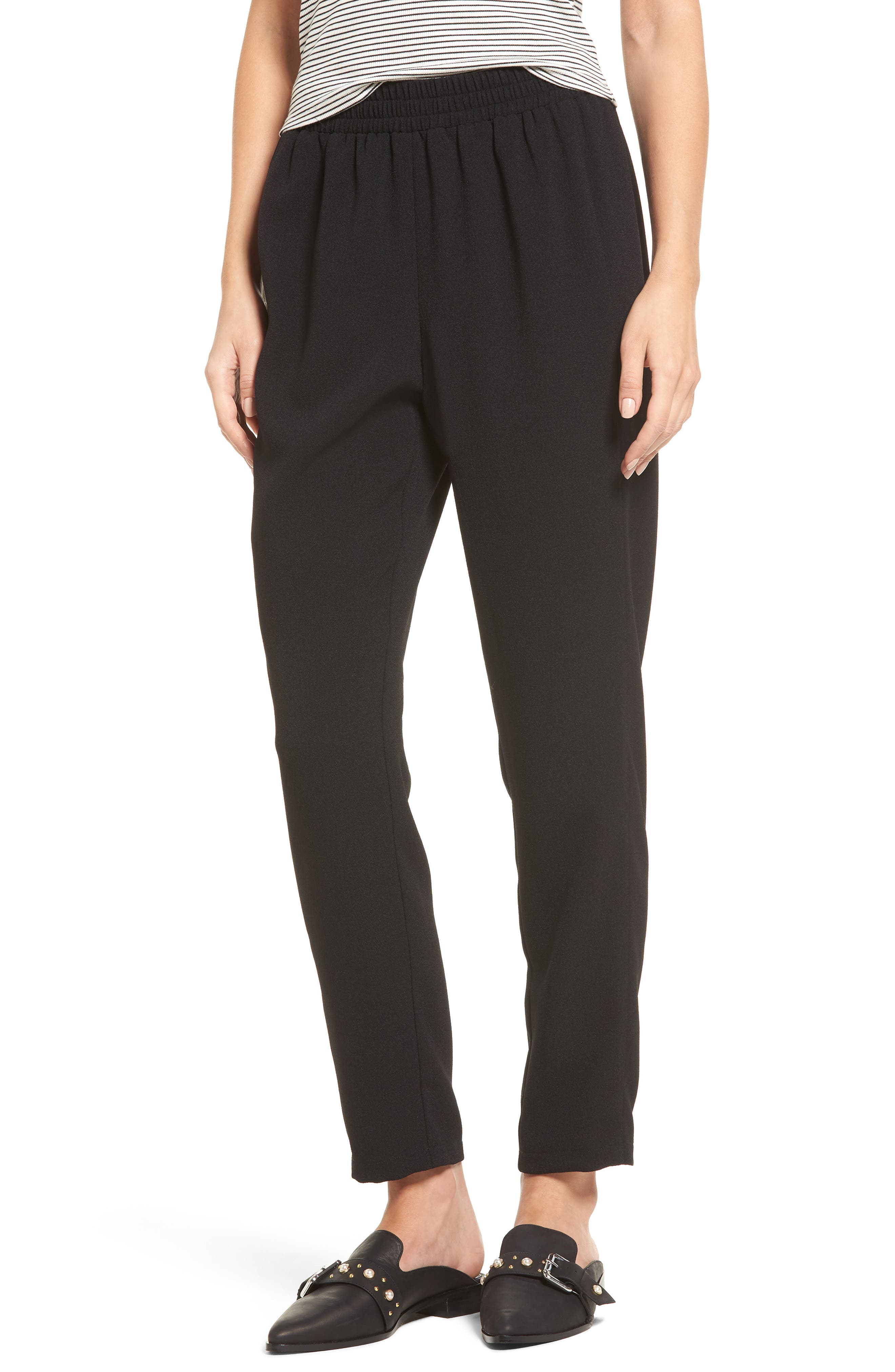 Tapered Woven Pants,                         Main,                         color, Black