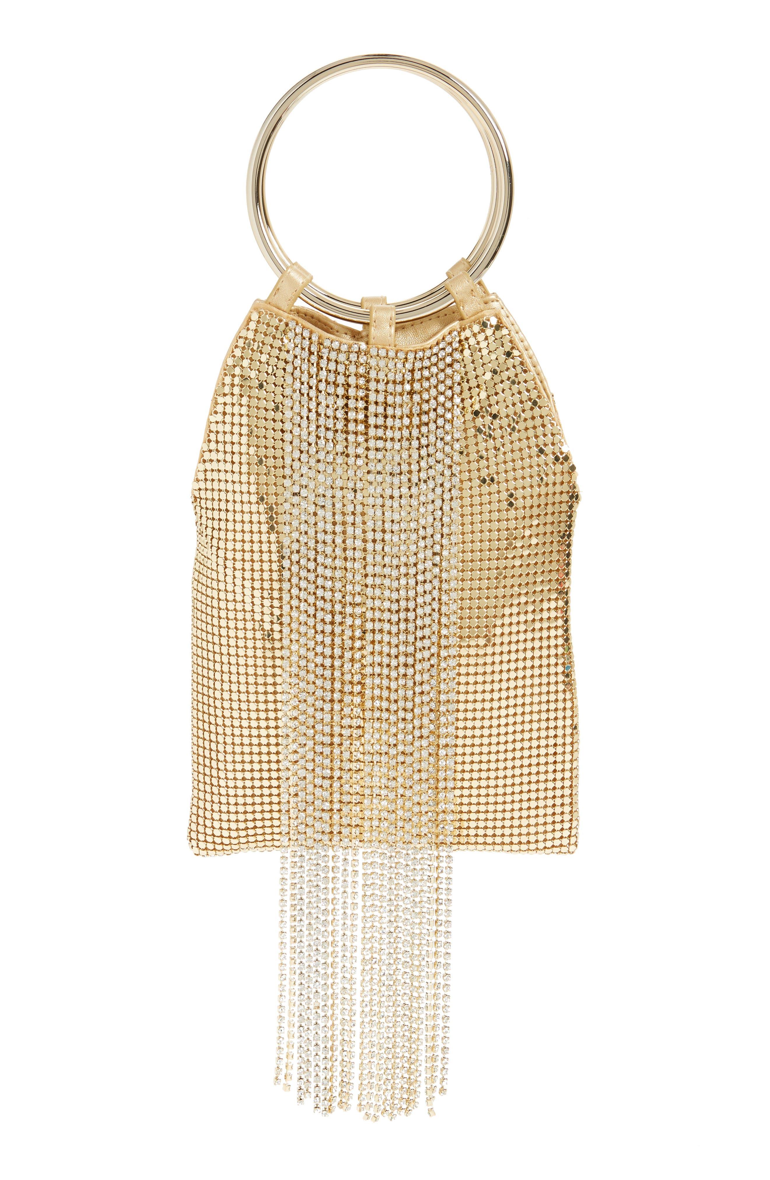 Alternate Image 1 Selected - Whiting & Davis Cascade Crystal Fringe Mesh Bracelet Bag