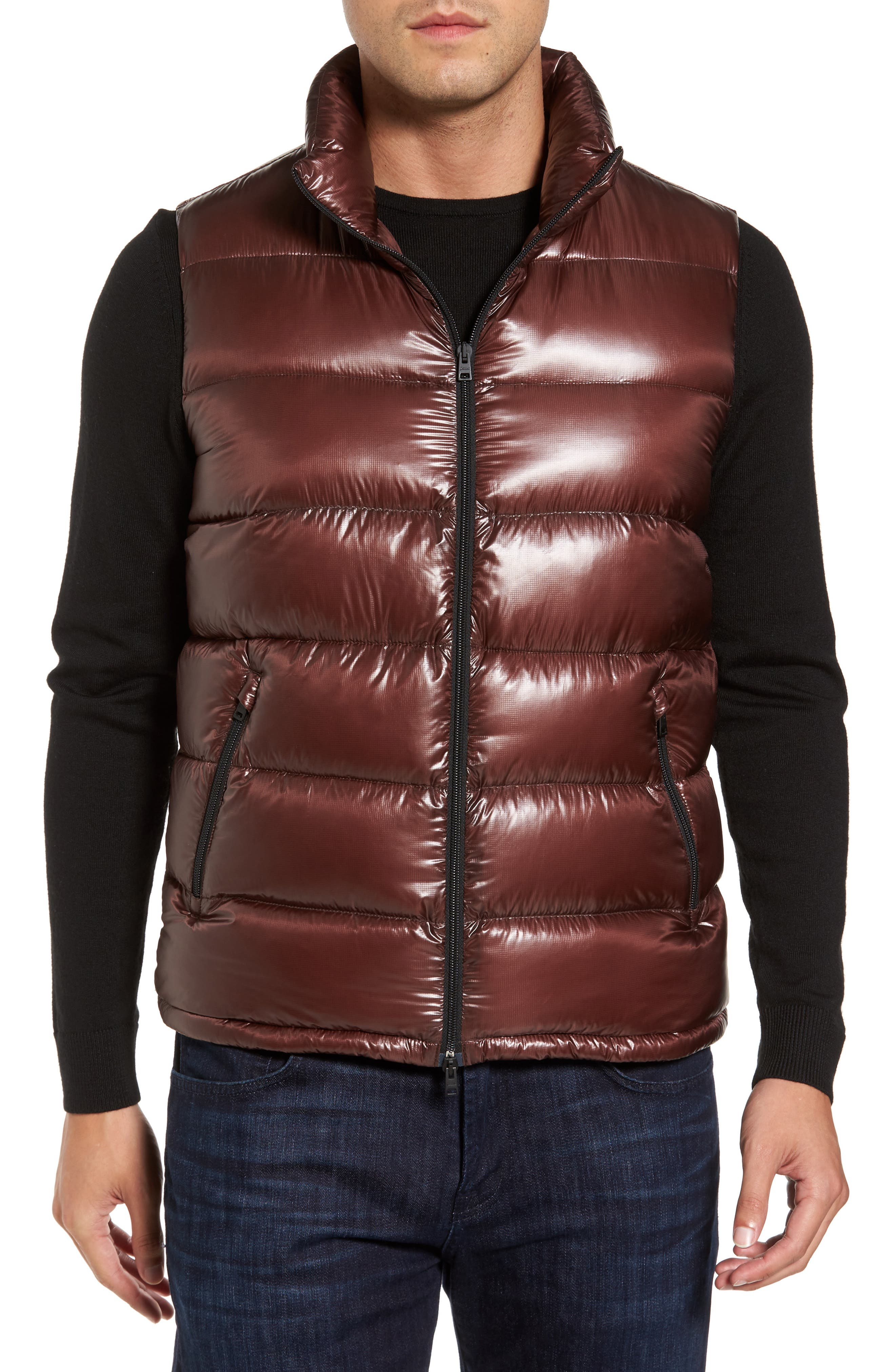 Quilted Down Vest,                             Alternate thumbnail 4, color,                             Cordovan