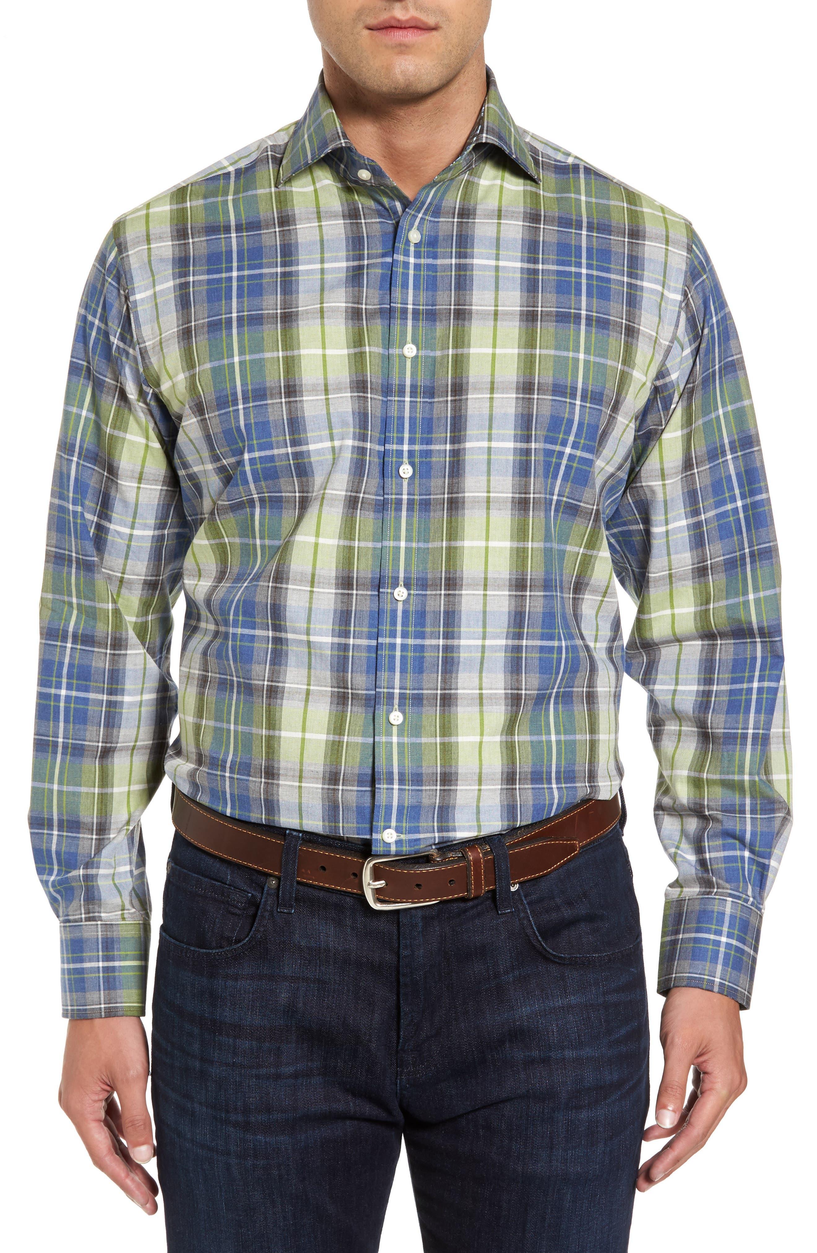 Alternate Image 1 Selected - Thomas Dean Regular Fit Plaid Sport Shirt