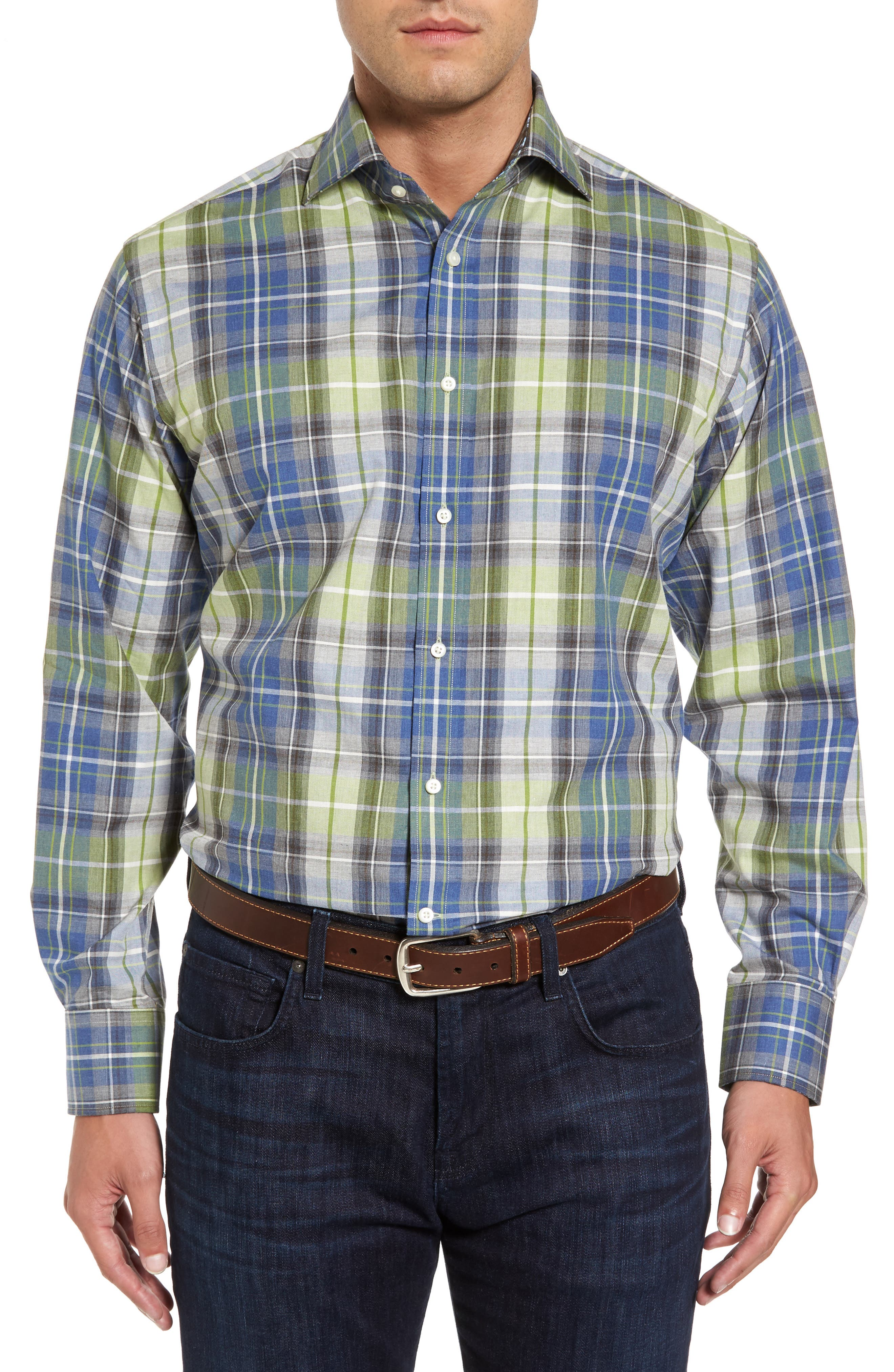 Main Image - Thomas Dean Regular Fit Plaid Sport Shirt