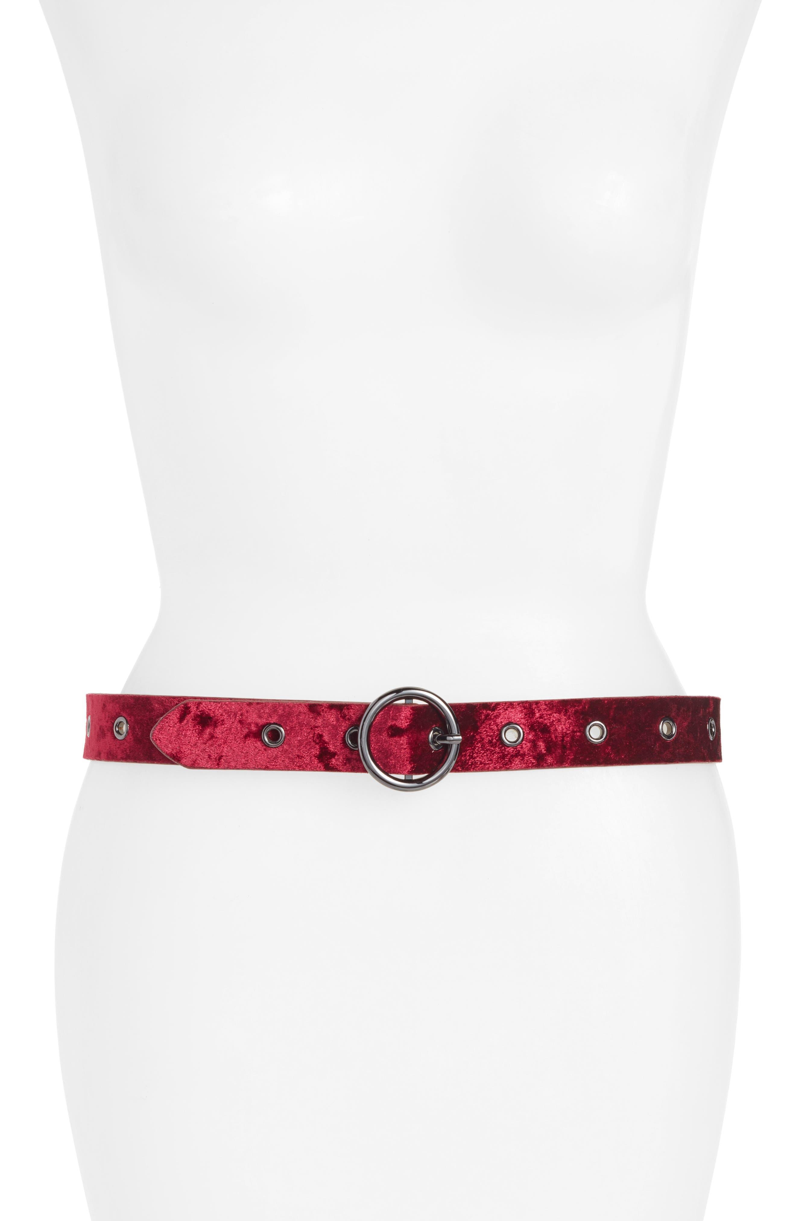 Halogen® Grommet Velvet Skinny Belt