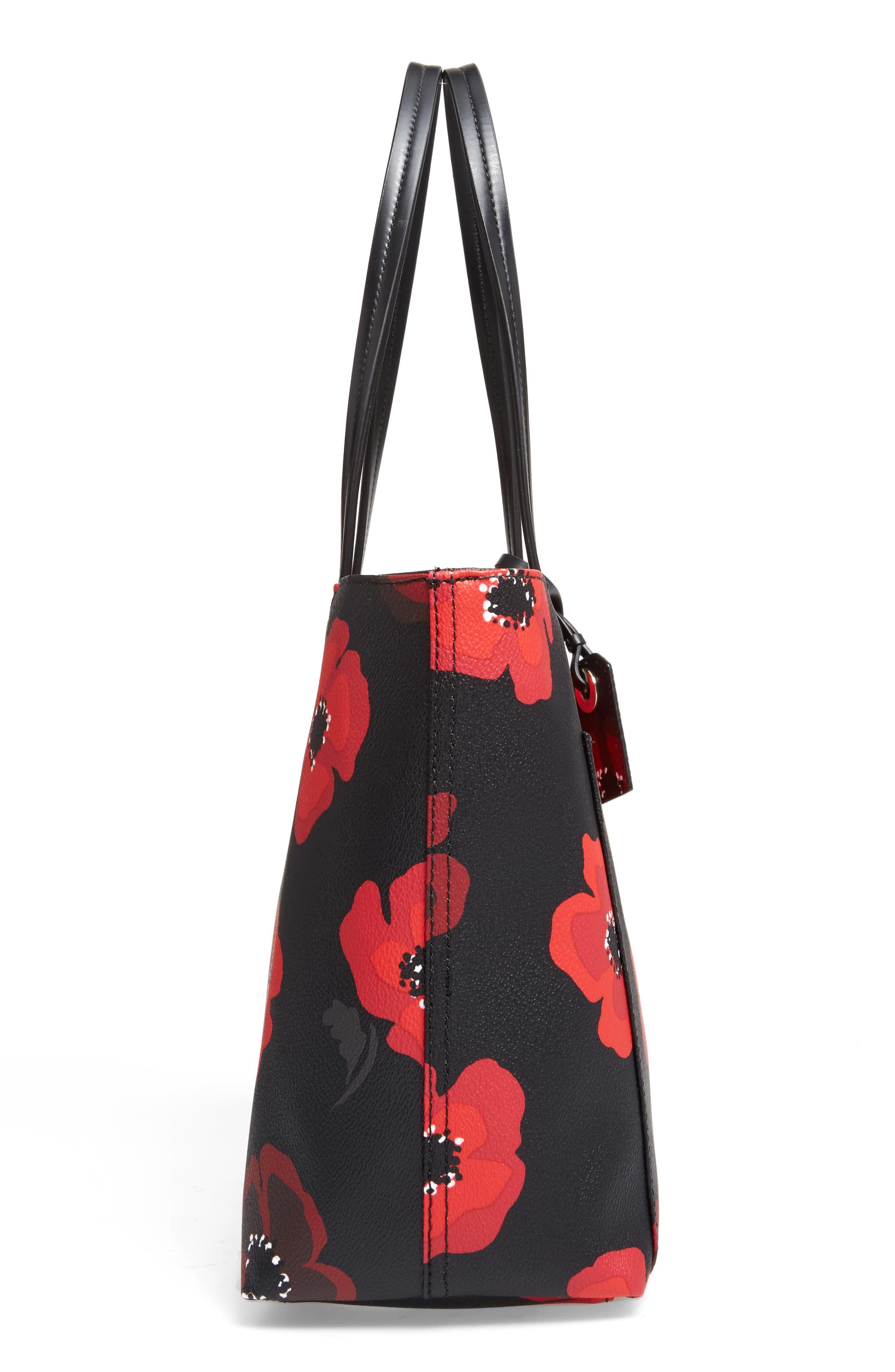 hyde lane poppies - small riley tote,                             Alternate thumbnail 4, color,                             Black Multi