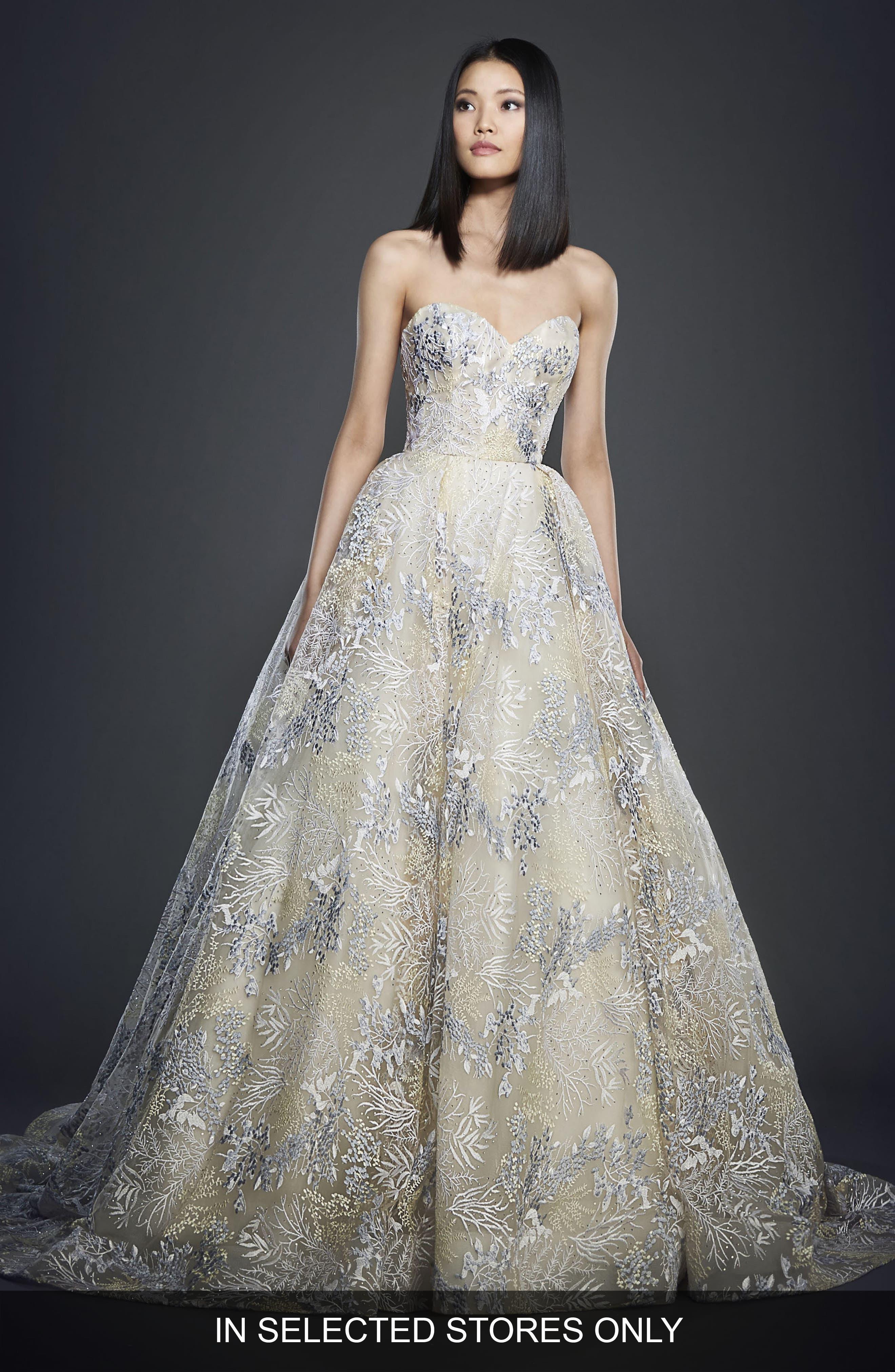 Lazaro Embellished Strapless Ballgown