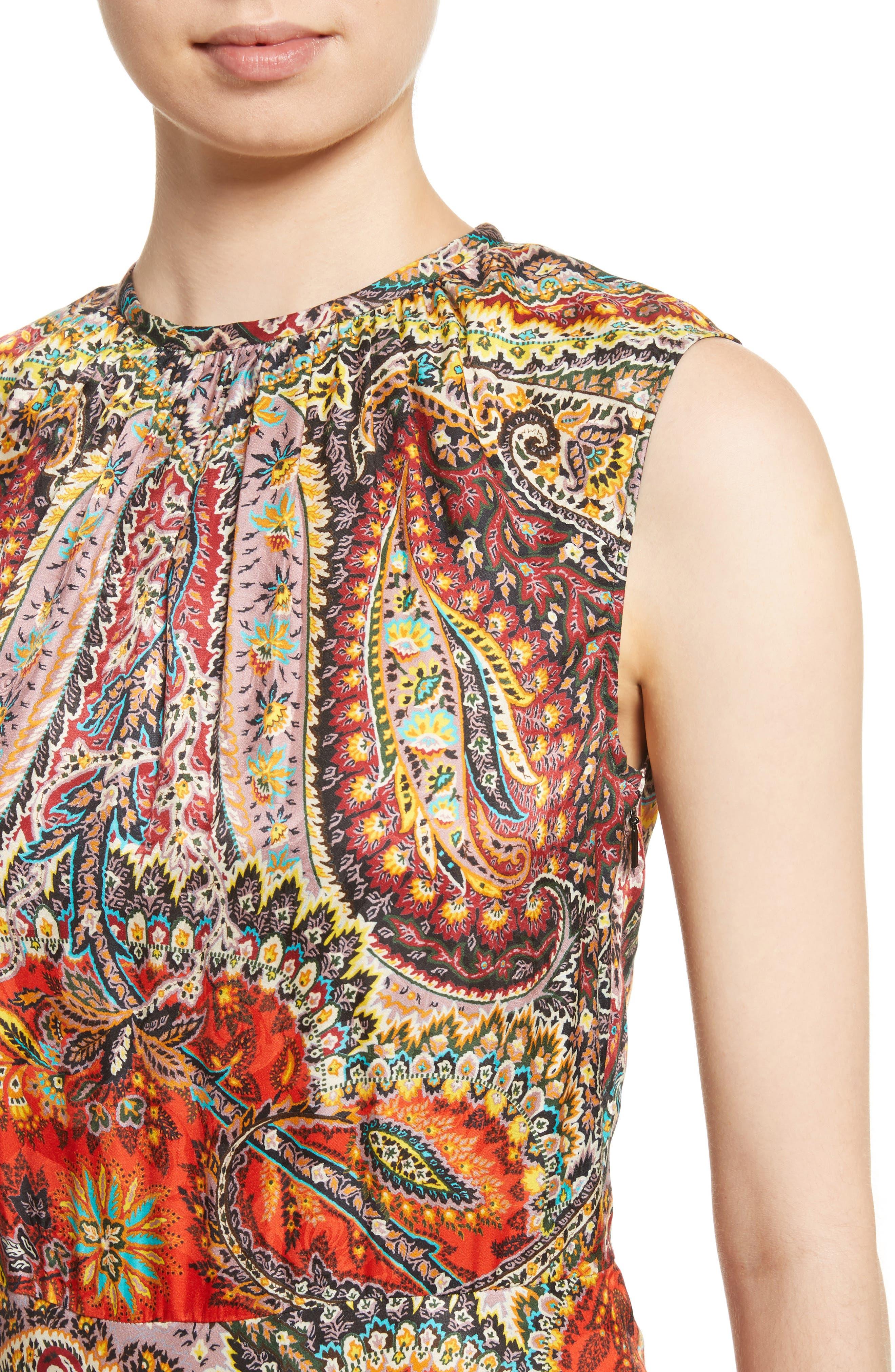 Paisley Print Asymmetrical Dress,                             Alternate thumbnail 4, color,                             Red
