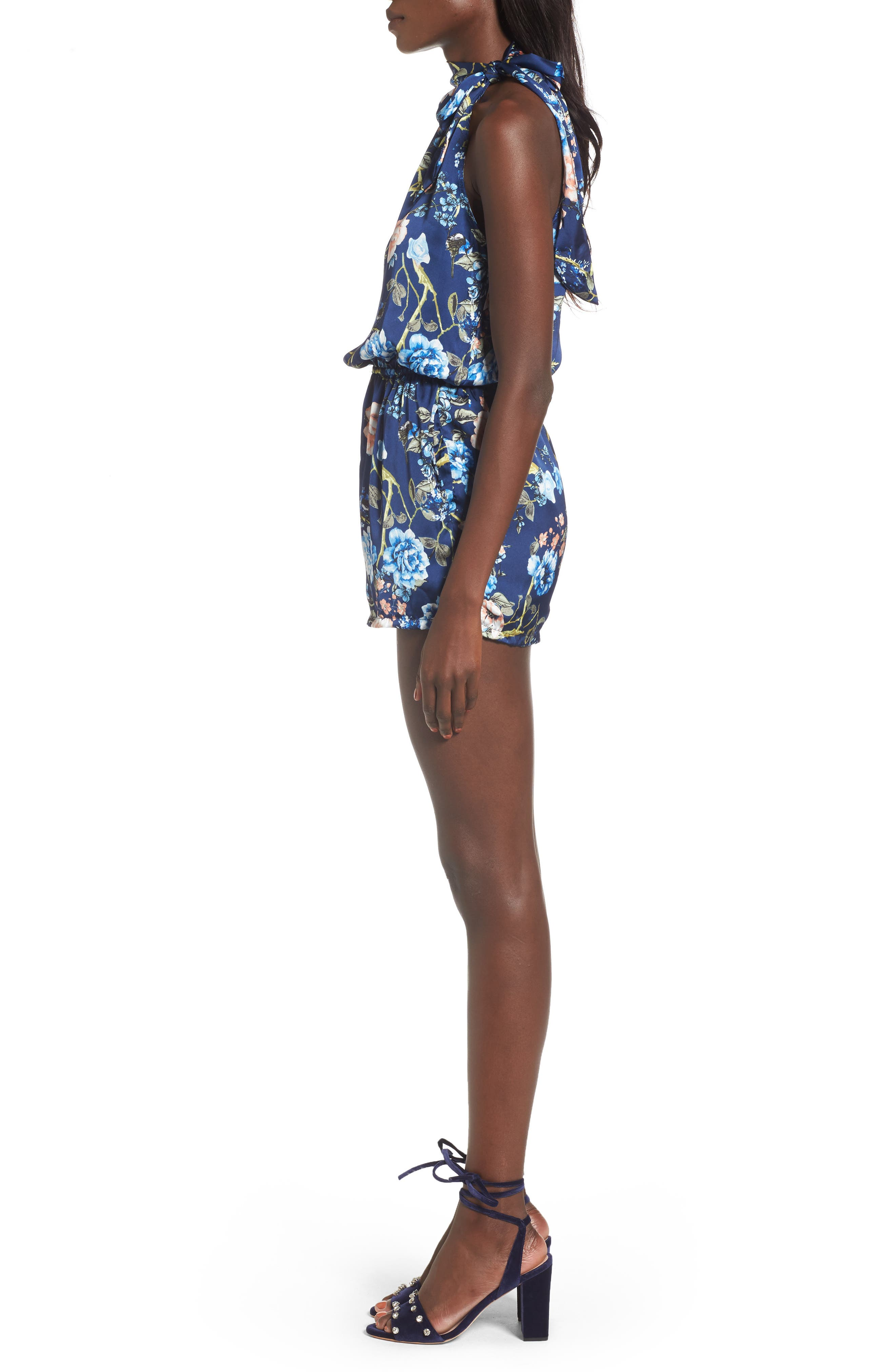 Alternate Image 3  - Mimi Chica Tie Neck One-Sleeve Romper