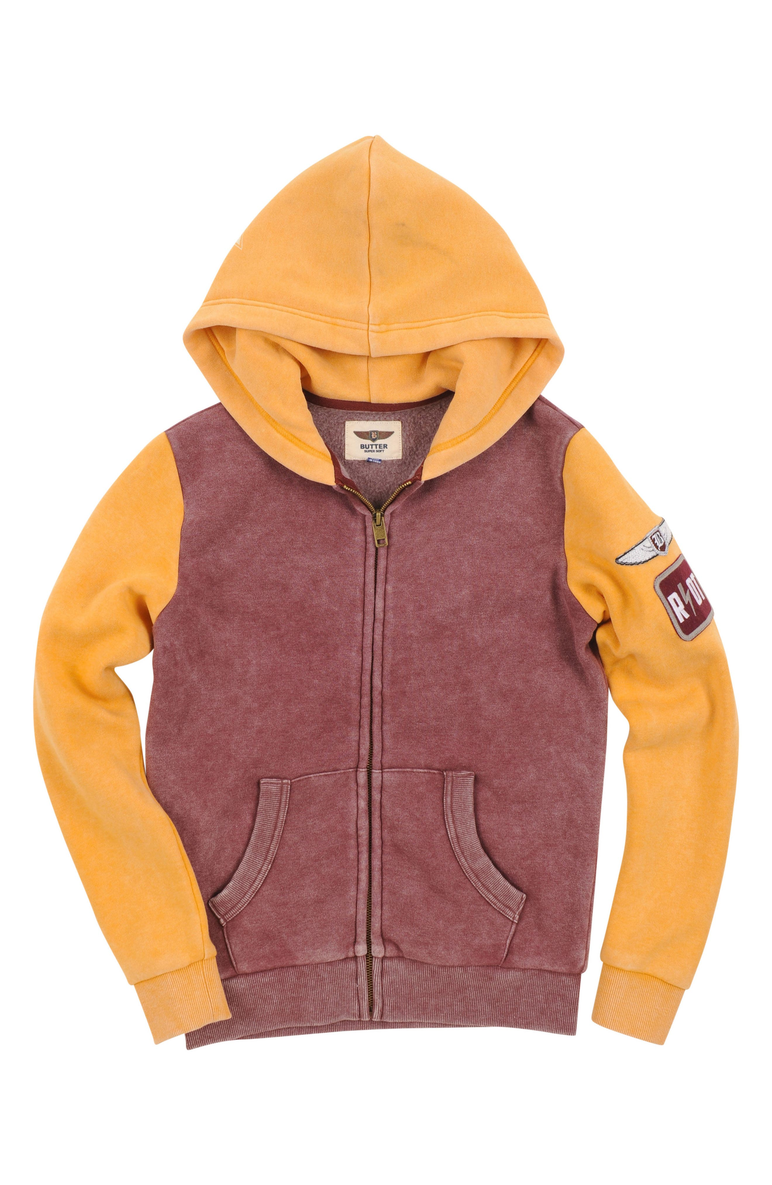 Butter Super Soft Colorblock Zip Hoodie (Big Boys)
