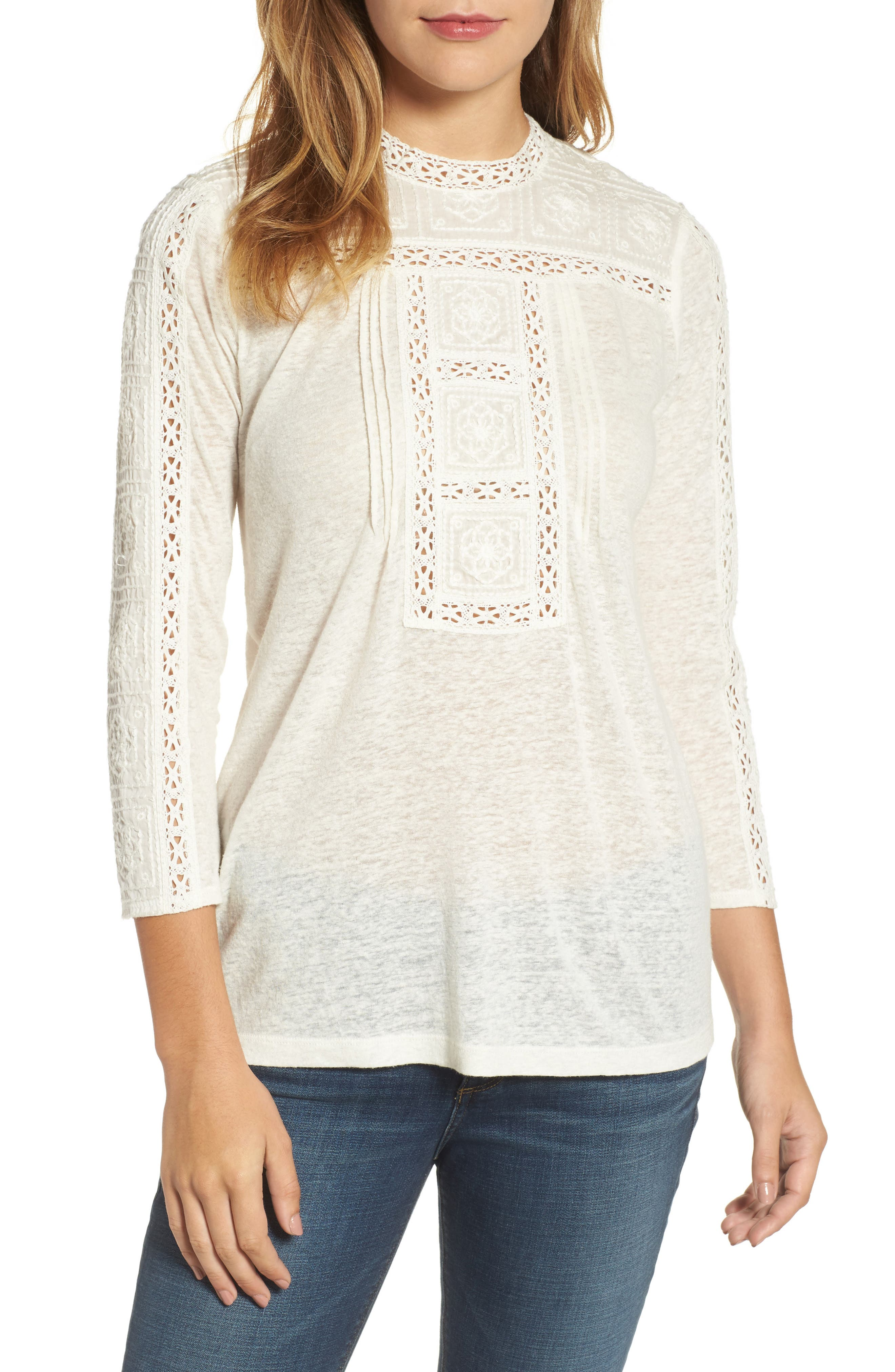 Embroidered Eyelet Trim Top,                         Main,                         color, Marshmallow