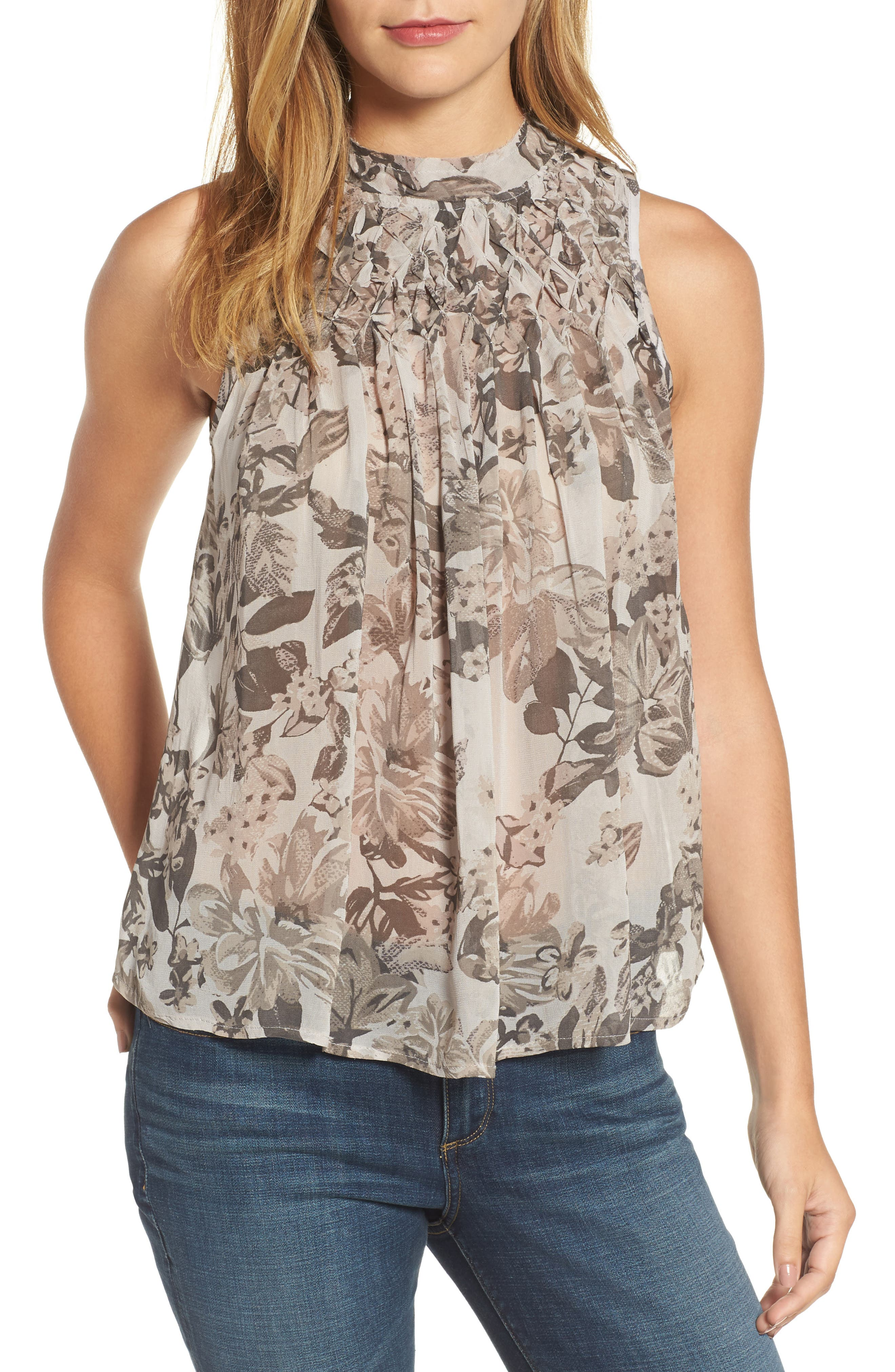 Lucky Brand Floral Mock Neck Tank Top