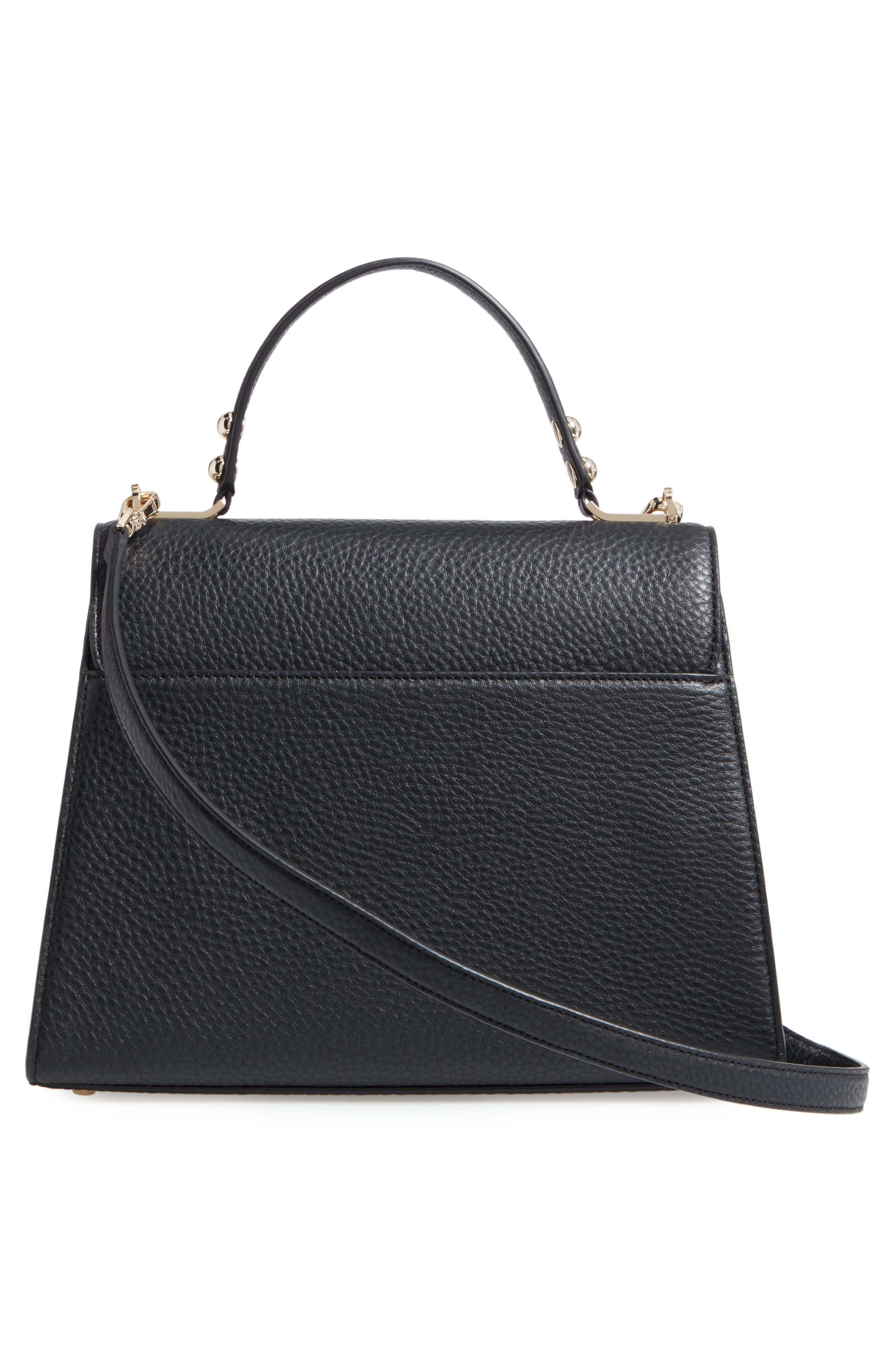 stewart street samira leather top handle satchel,                             Alternate thumbnail 2, color,                             Black