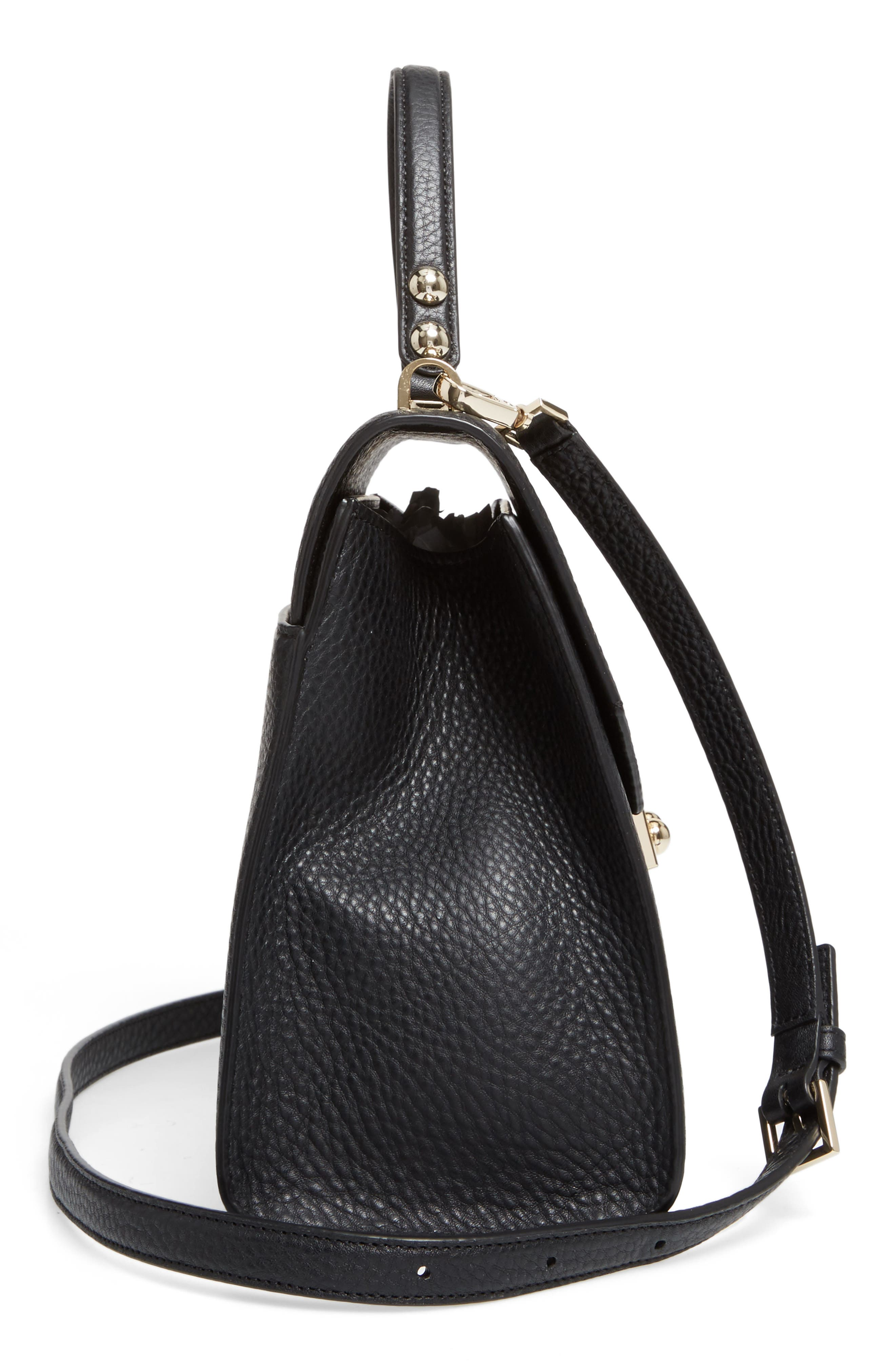 stewart street samira leather top handle satchel,                             Alternate thumbnail 4, color,                             Black
