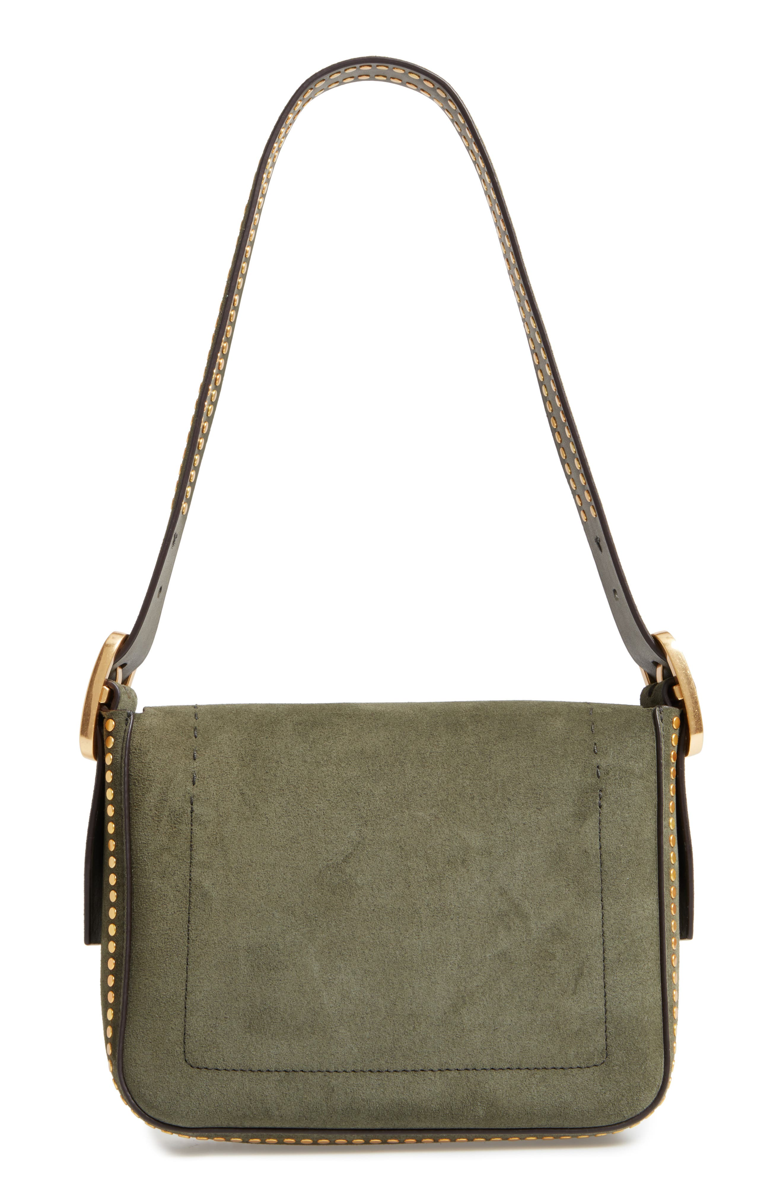 Small Sawyer Stud Suede Shoulder Bag,                             Alternate thumbnail 2, color,                             Boxwood