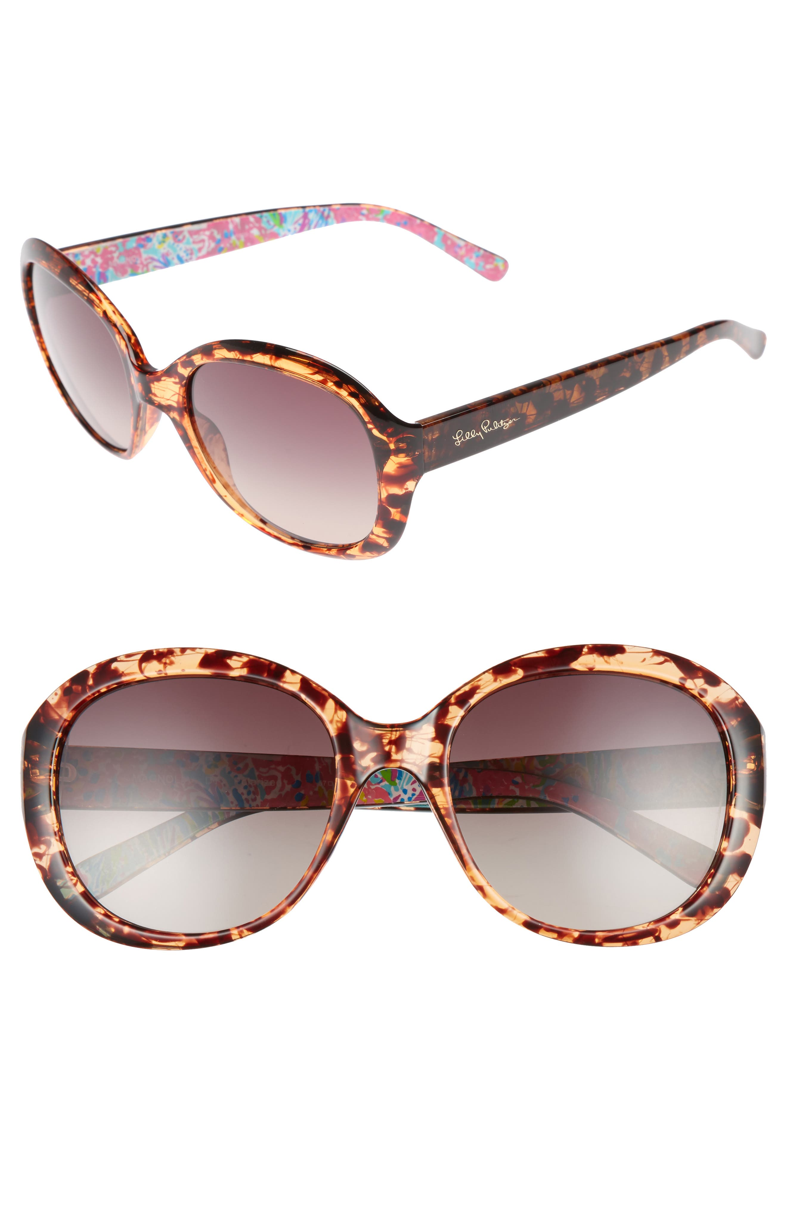 Magnolia 57mm Polarized Round Sunglasses,                         Main,                         color, Havana