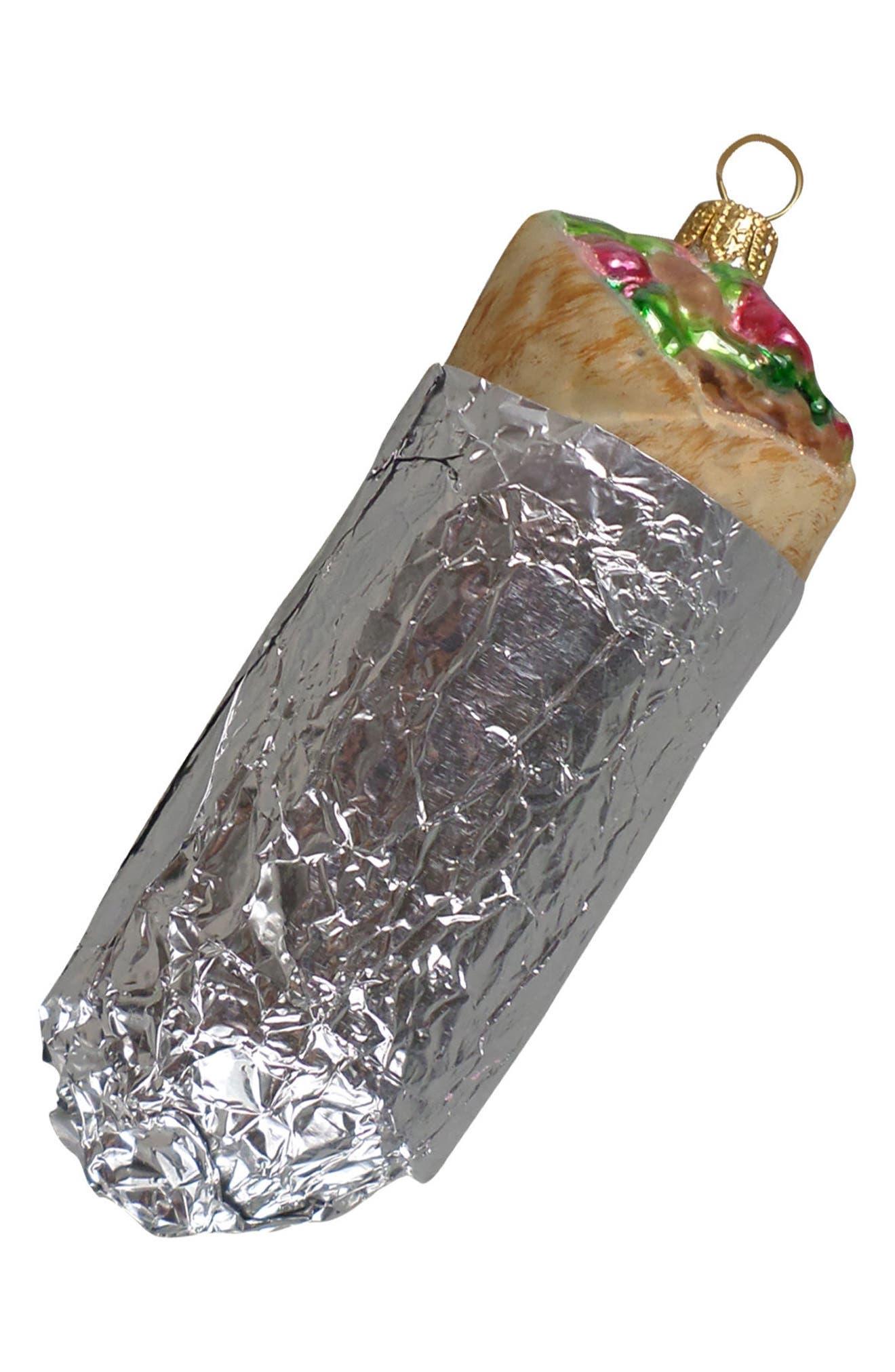 Handblown Glass Burrito Ornament,                         Main,                         color, Silver Multi