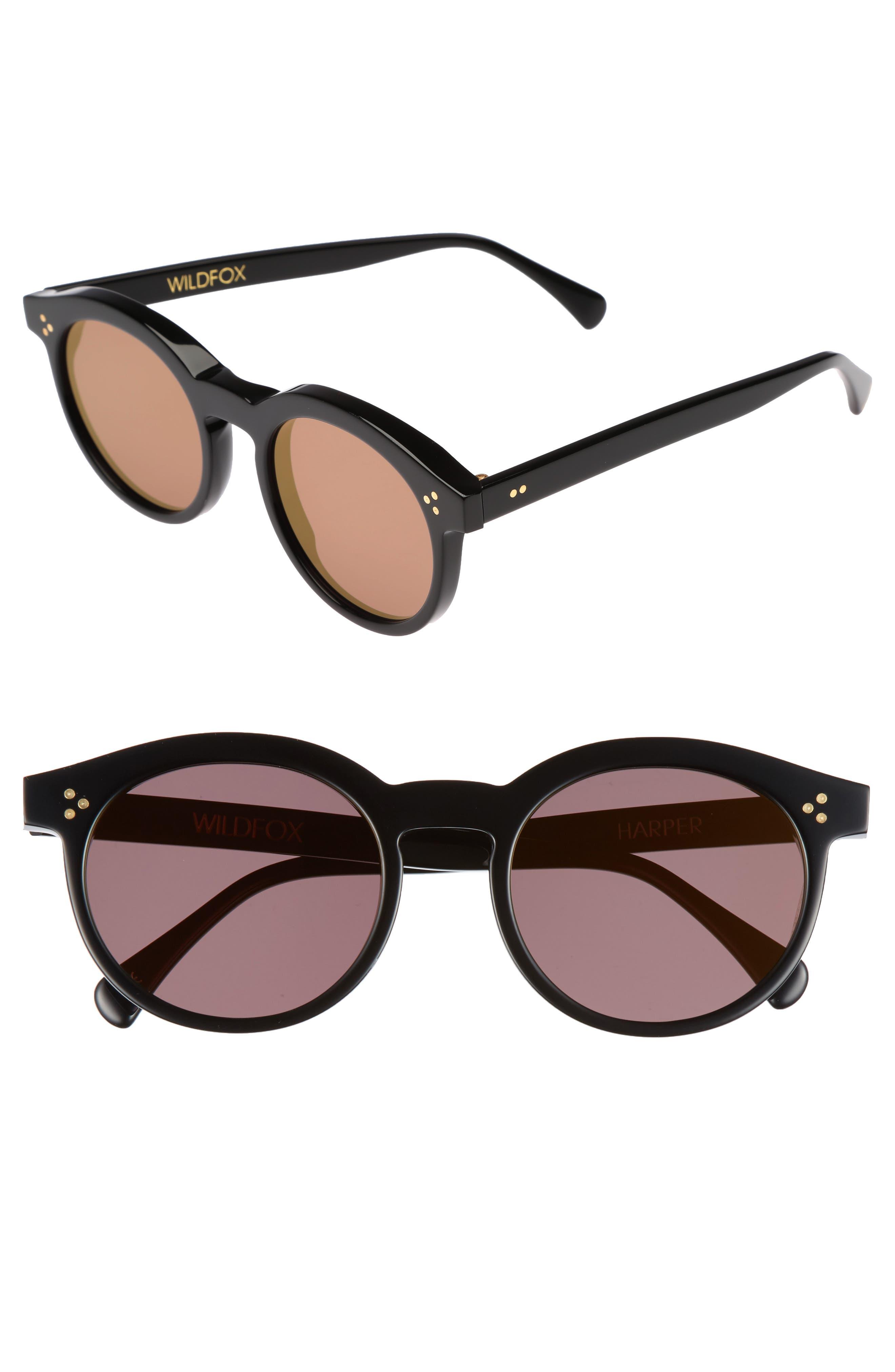Harper Zero 53mm Round Keyhole Sunglasses,                         Main,                         color, Black/ Gold