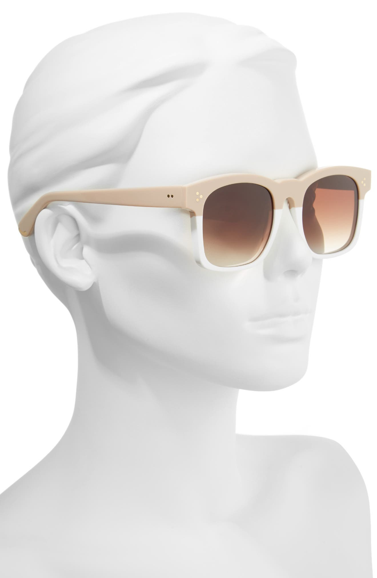 Gaudy Zero 51mm Flat Square Sunglasses,                             Alternate thumbnail 2, color,                             Cream-White