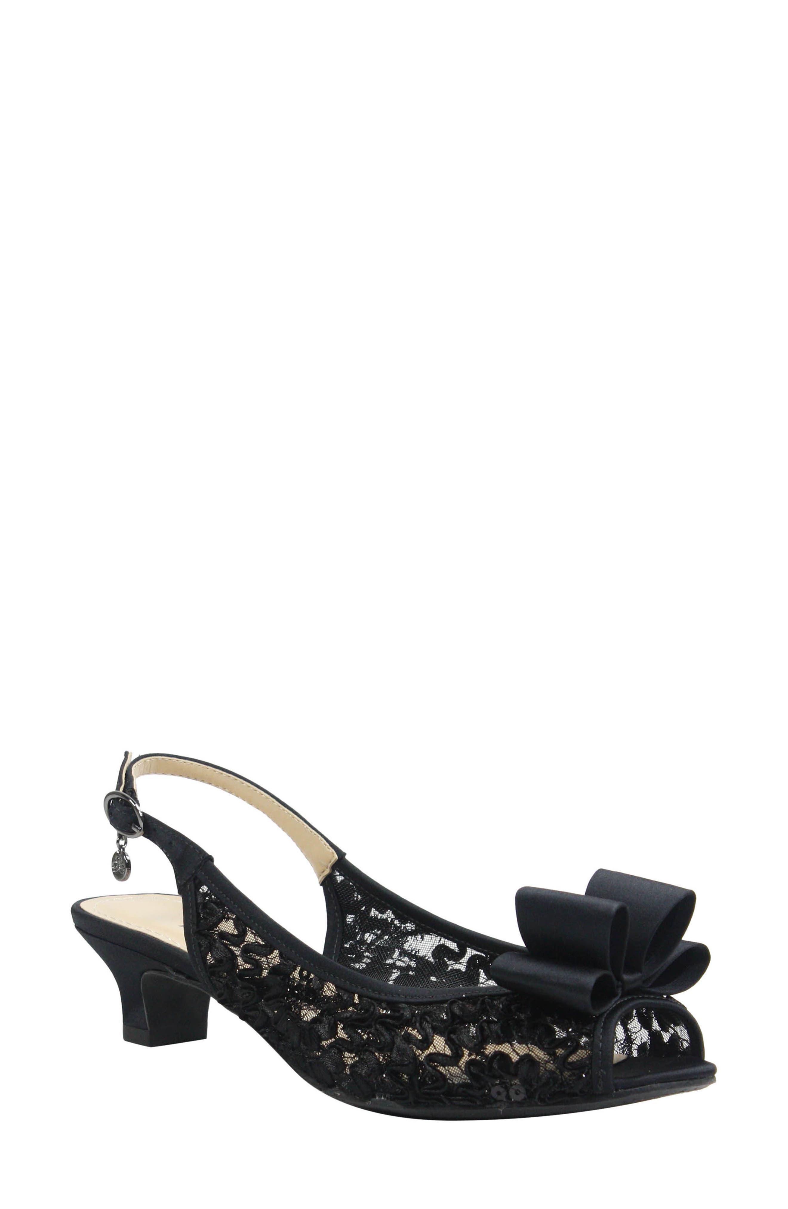 Landan Bow Slingback Sandal,                             Main thumbnail 1, color,                             Black Lace