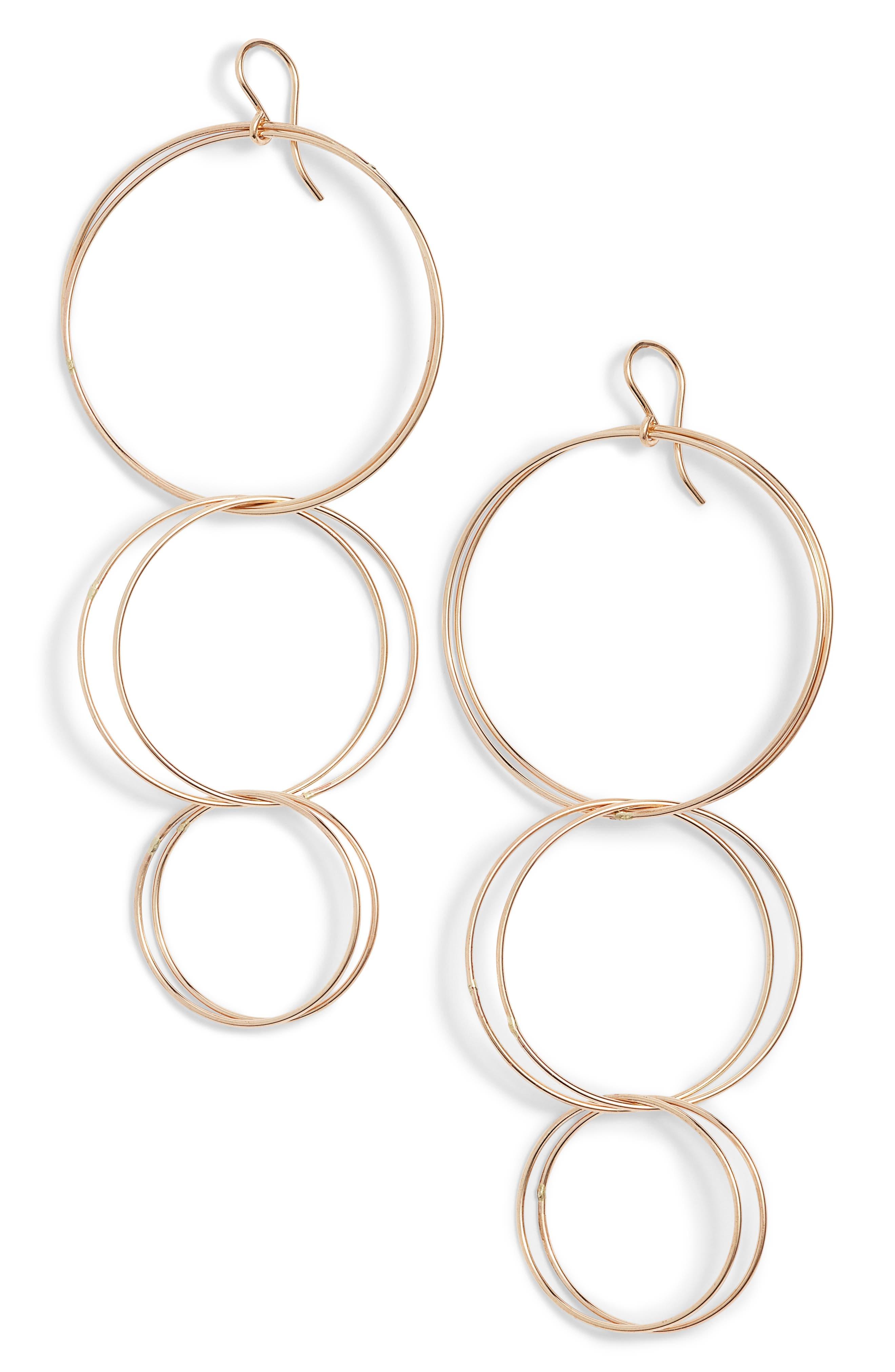 Triple Hoop Drop Earrings,                         Main,                         color, Gold