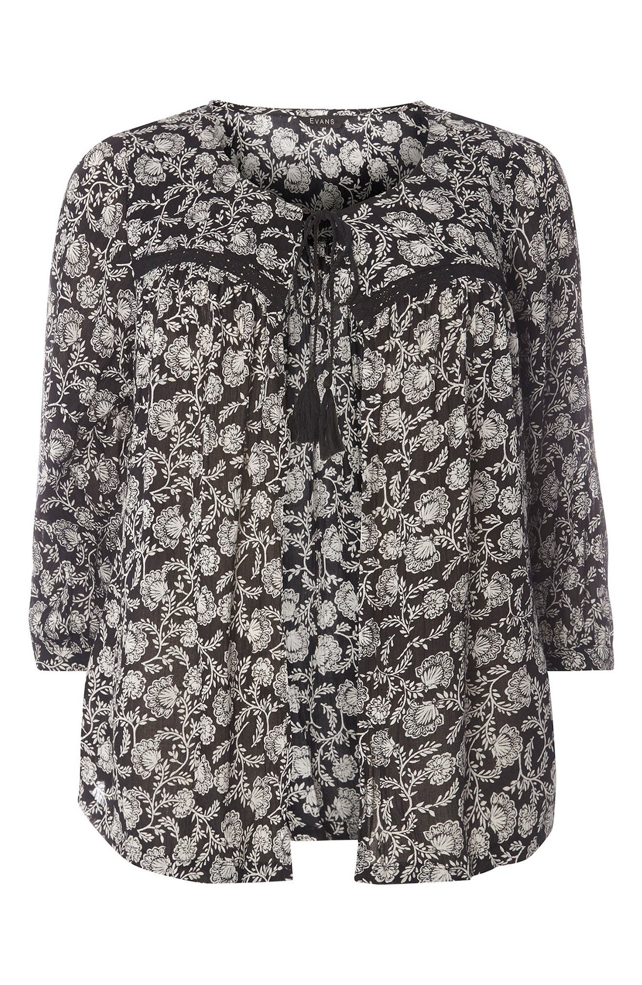 Alternate Image 5  - Evans Floral Print Cover-Up (Plus Size)
