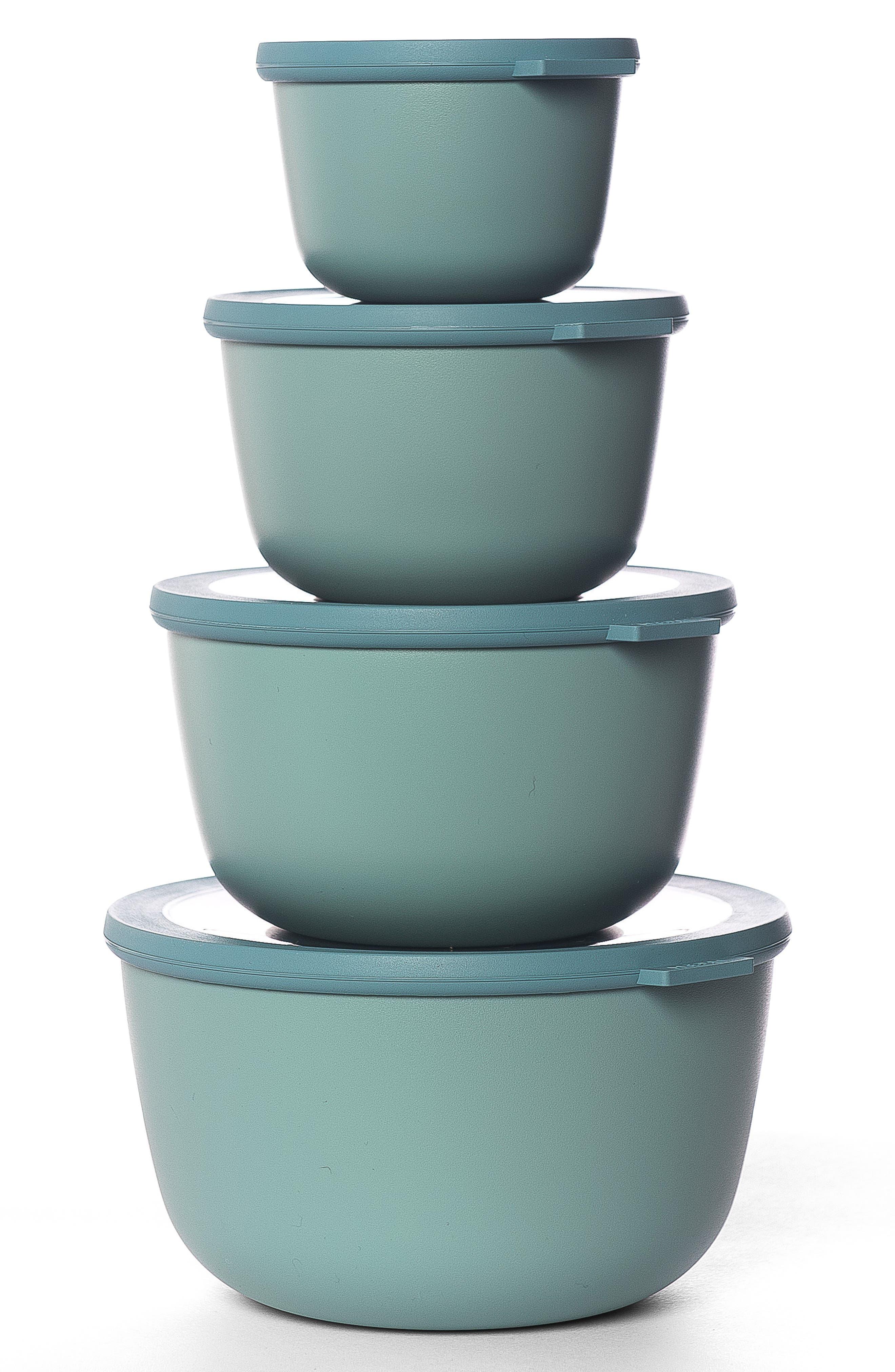 Cirqula Set of 4 Storage Bowls,                         Main,                         color, Blue